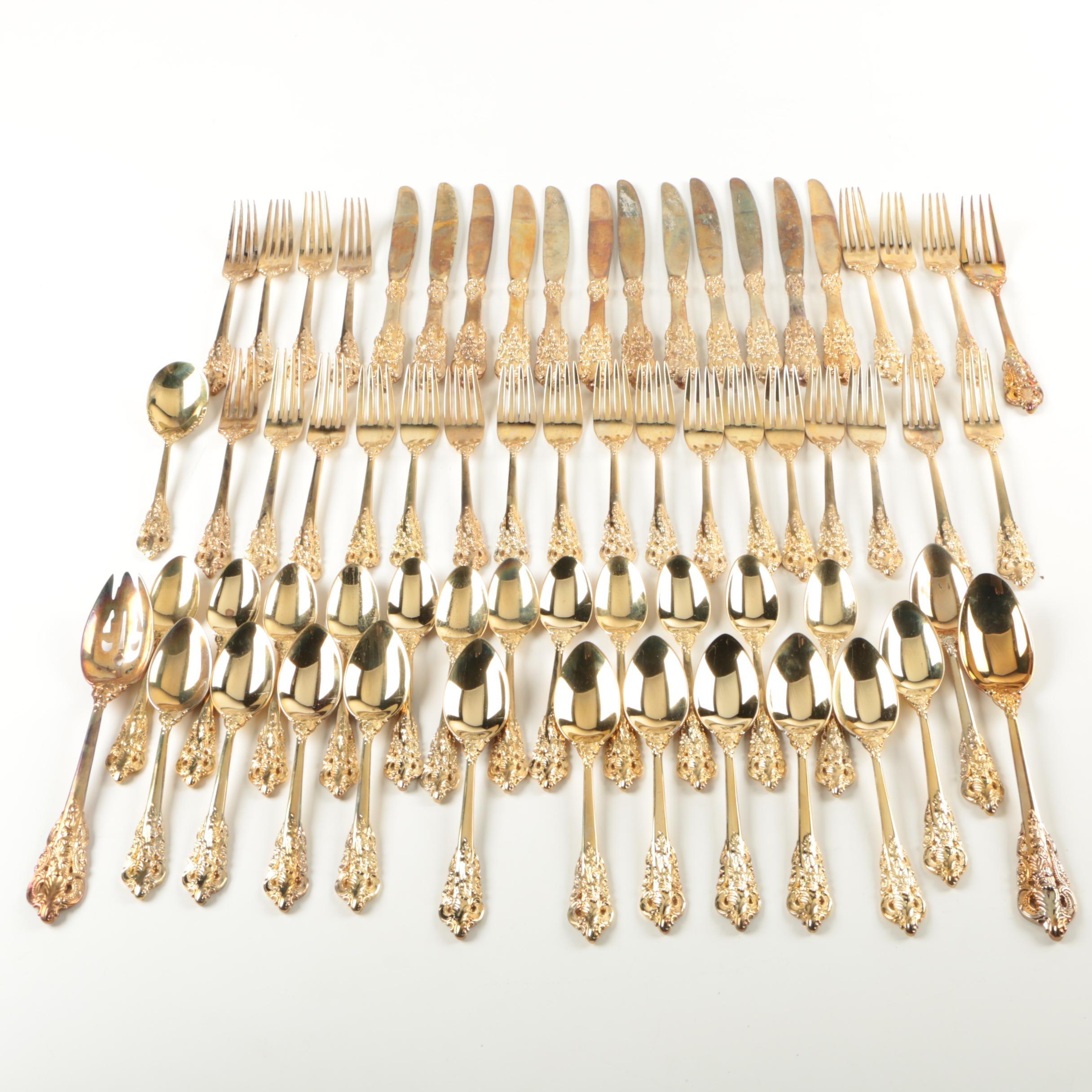 """Godinger """"Baroque"""" Gold Electroplate Flatware"""