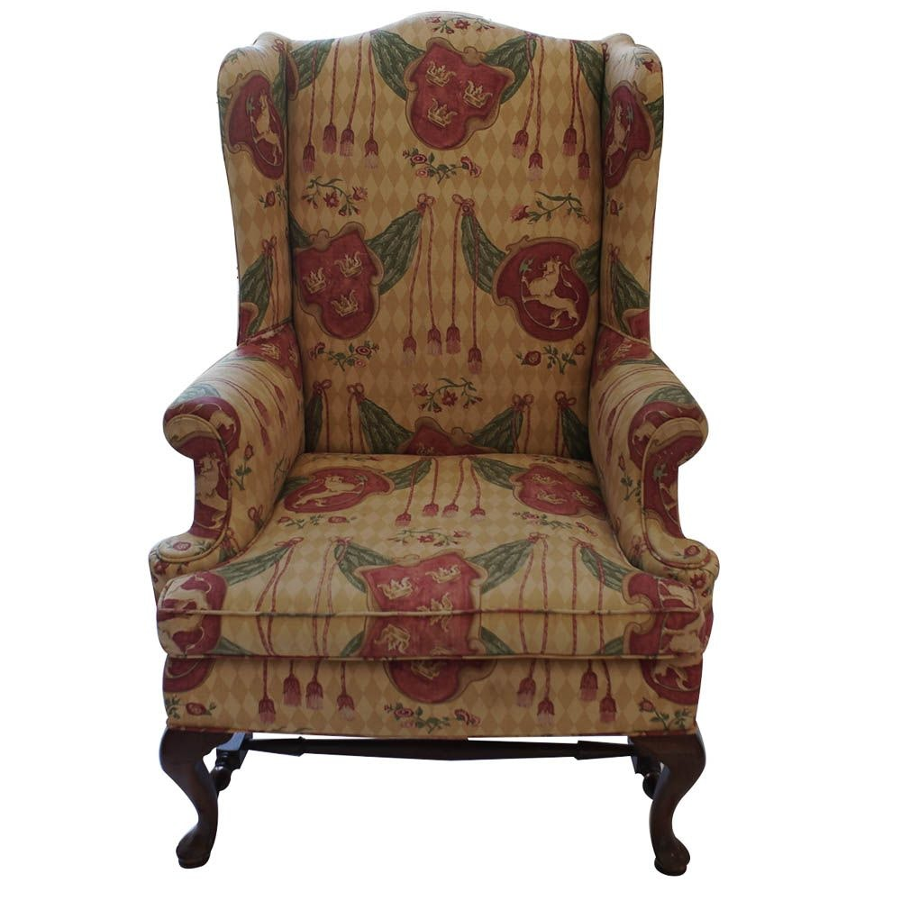 royal themed upholstered armchair