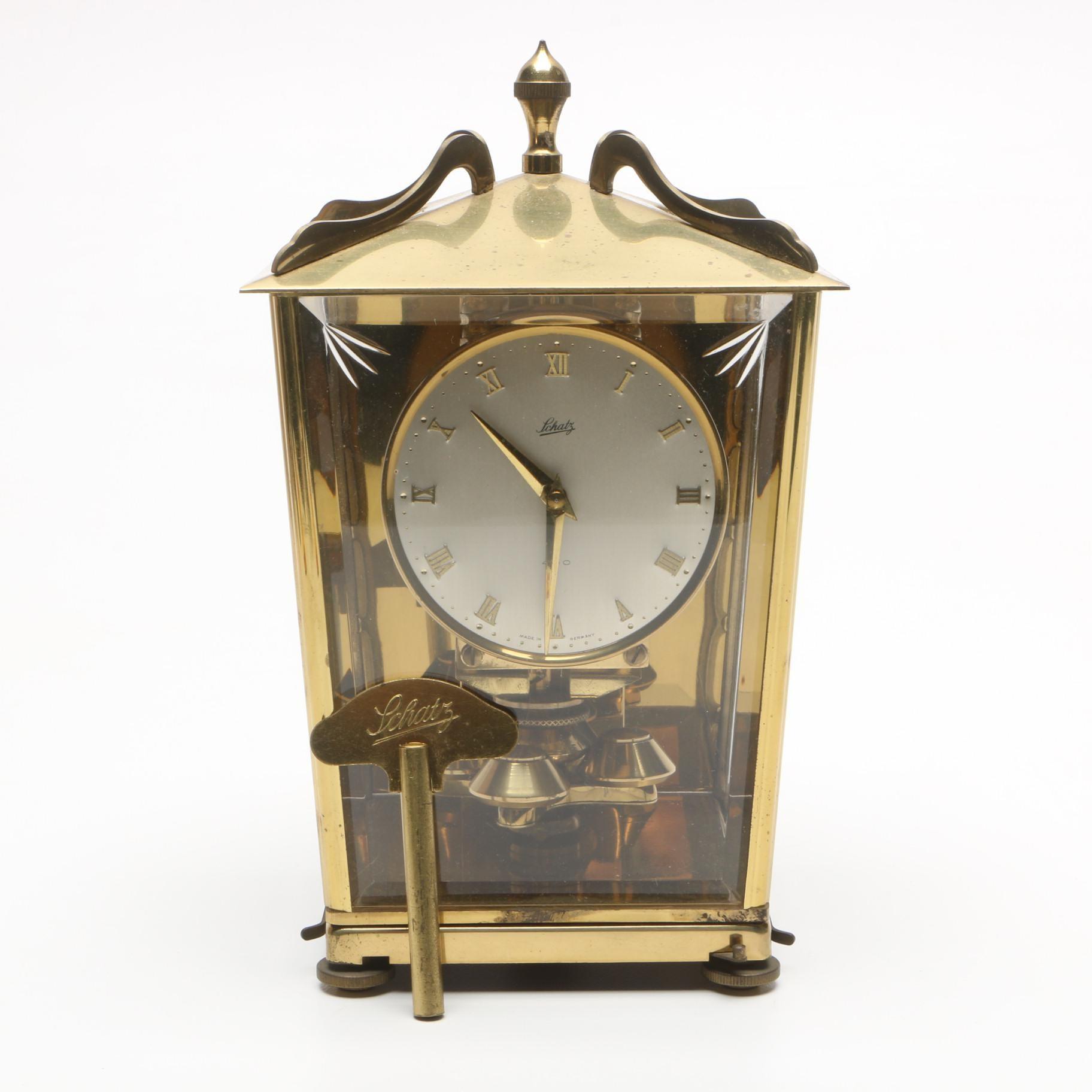 Vintage Schatz German 400 Day Mantel Clock