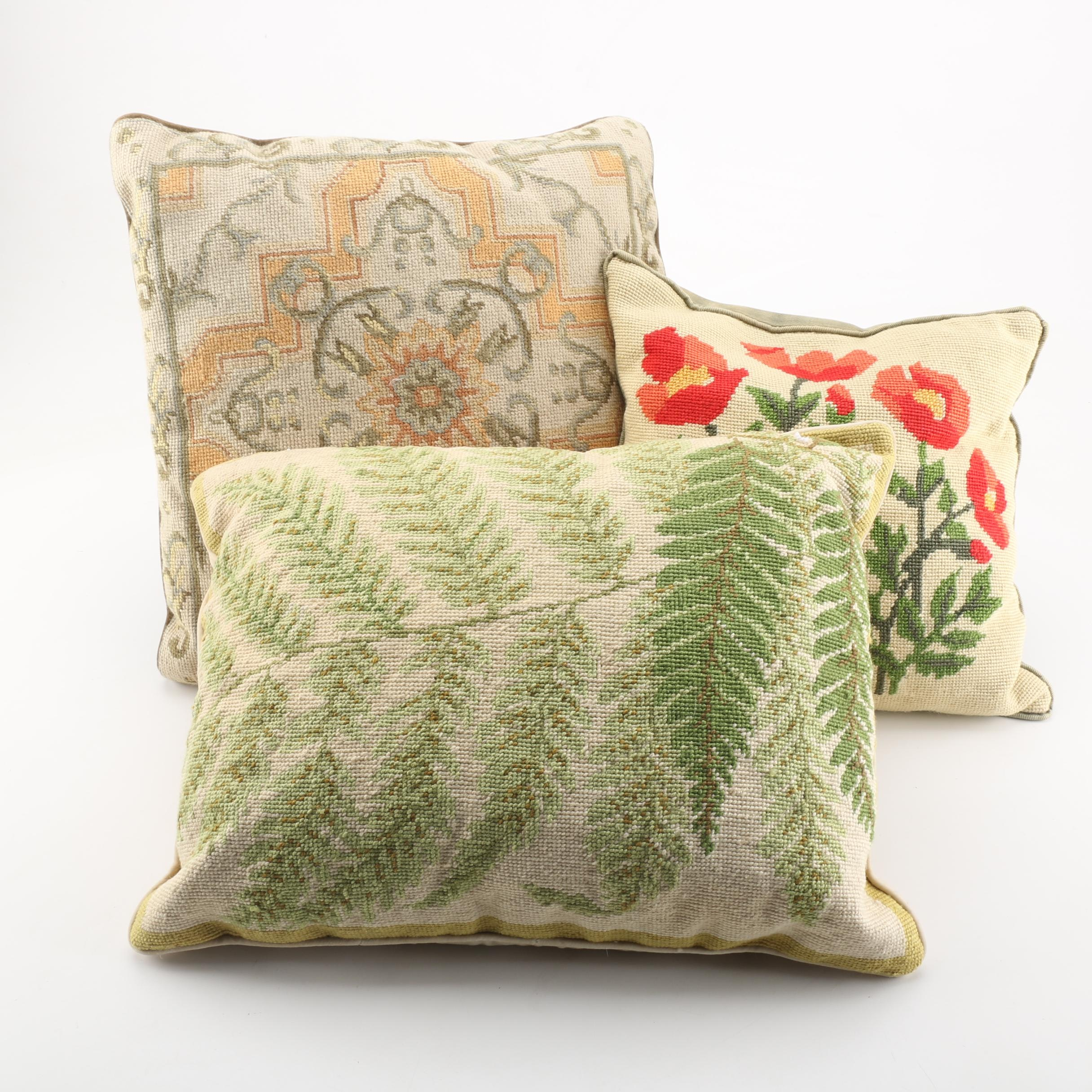 Assortment of Embroidered Throw Pillows