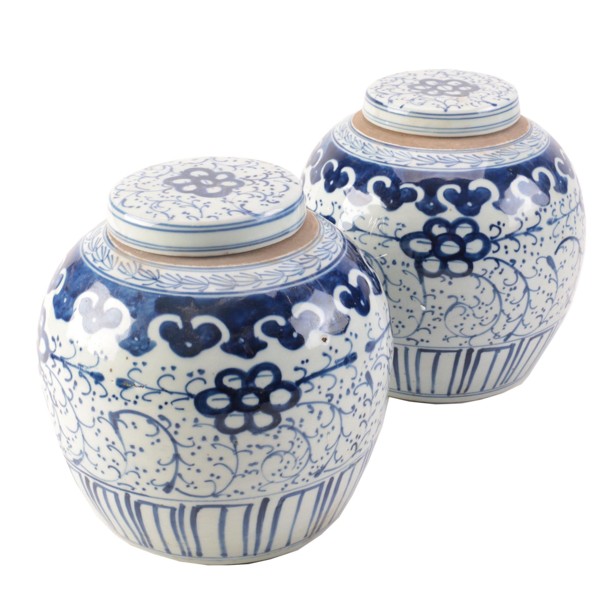 Vintage Chinese Hand Decorated Porcelain Ginger Jars