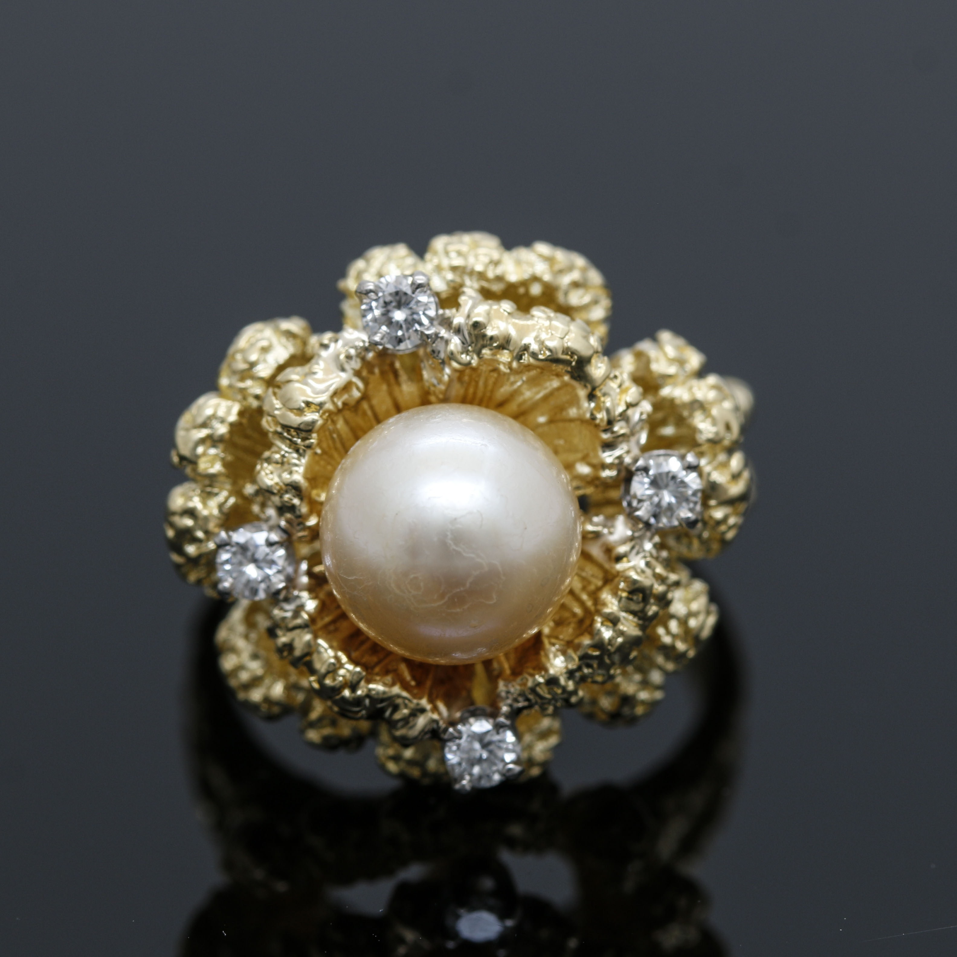 18K Yellow Gold Cultured Pearl and Diamond Floral Ring