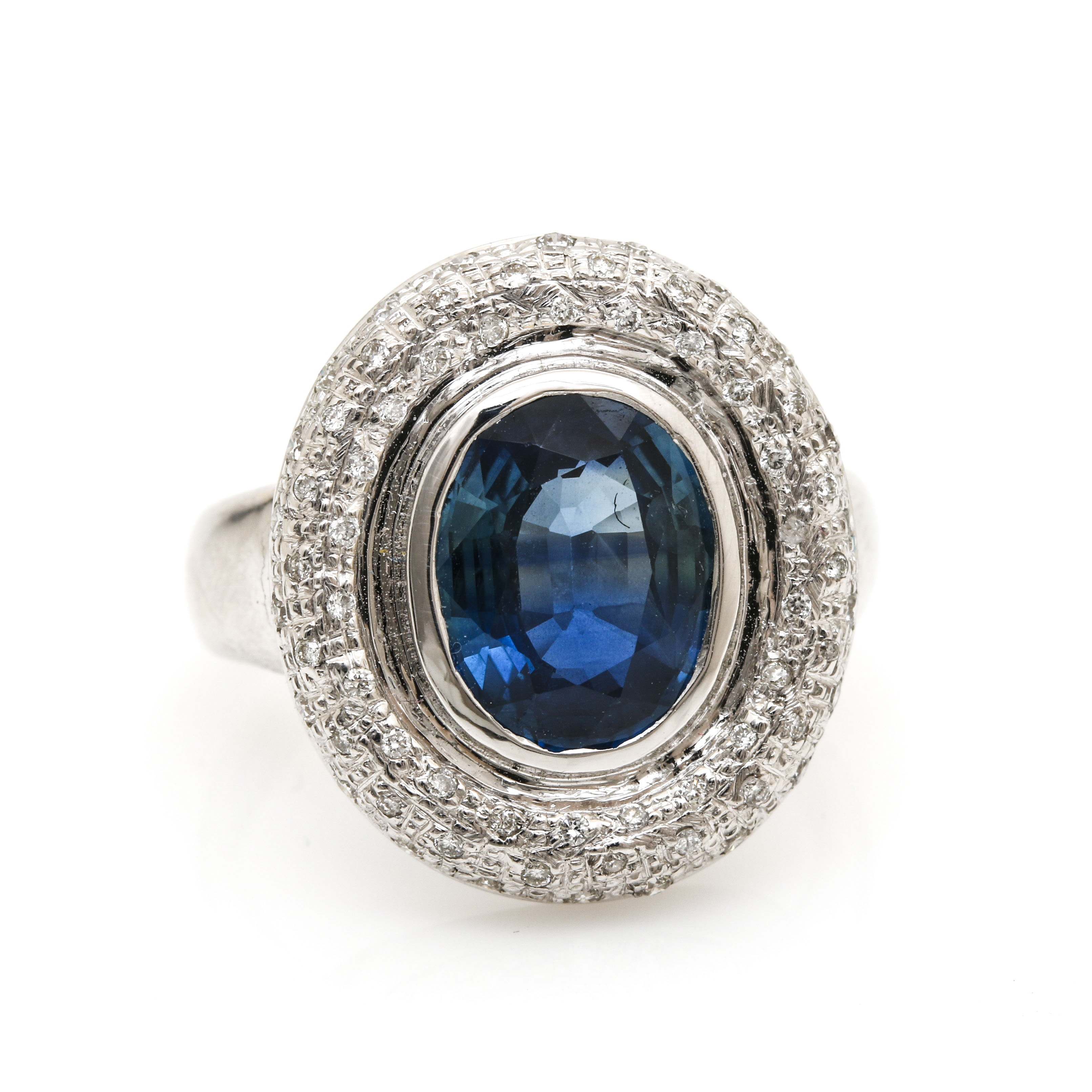 10K White Gold 2.68 CT Sapphire and Diamond Ring