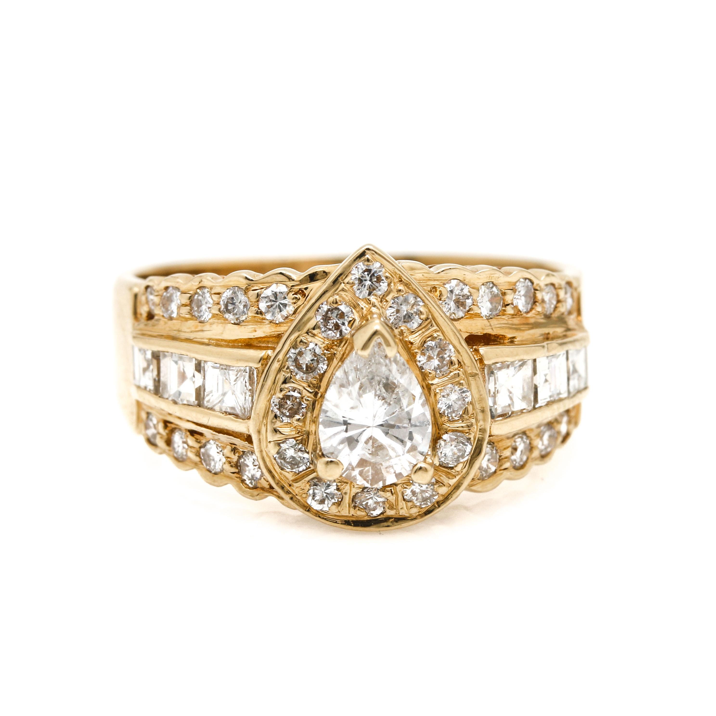 14K Yellow Gold 1.36 CTW Diamond Ring