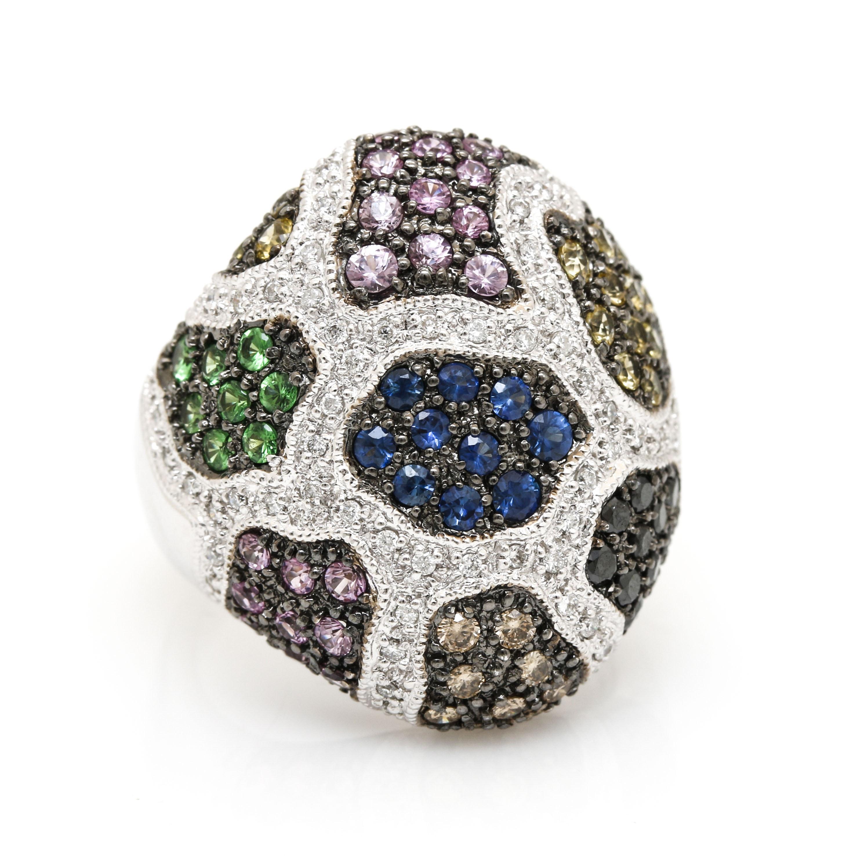 18K White Gold Gemstone and Diamond Ring