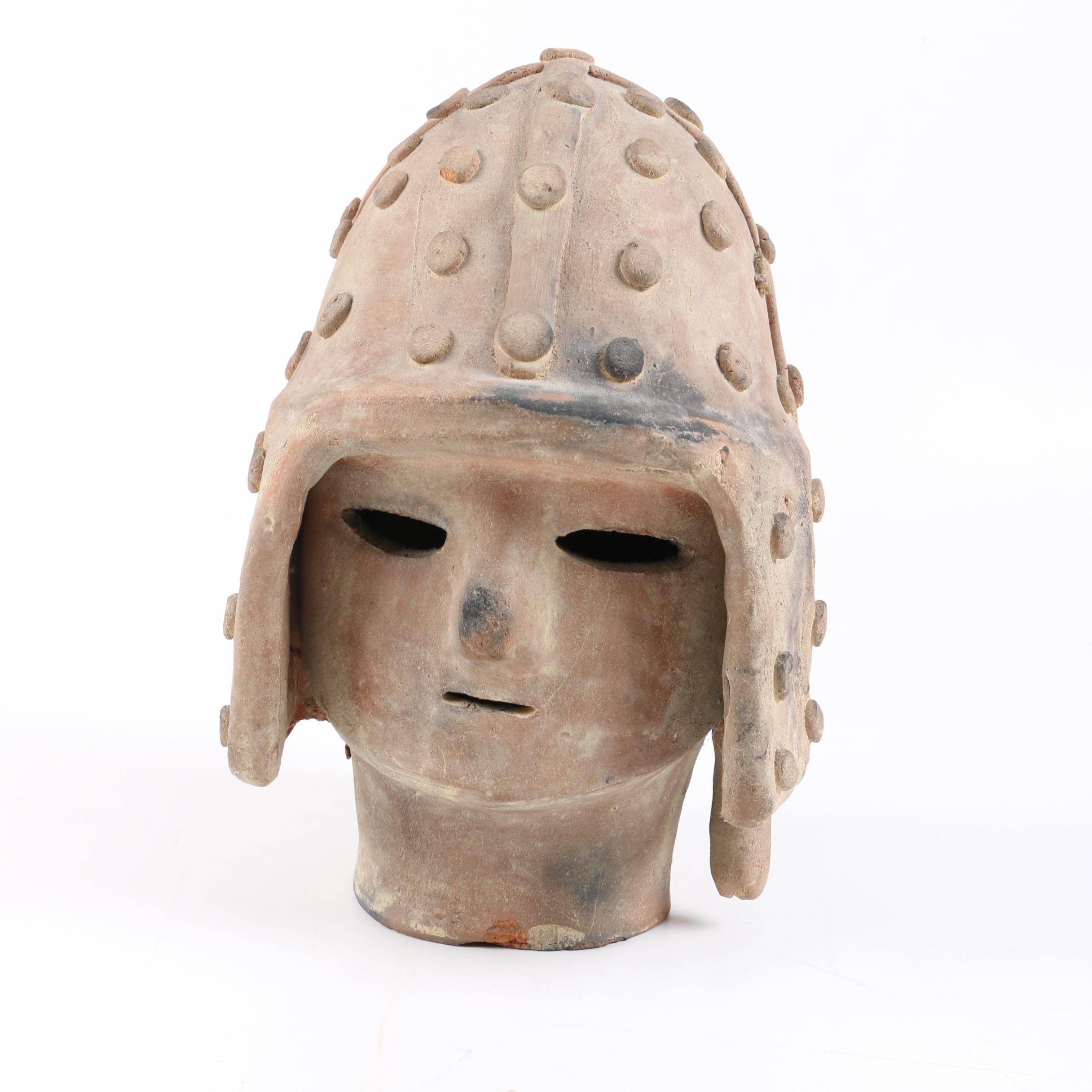Japanese Haniwa Style Ceramic Head of a Warrior