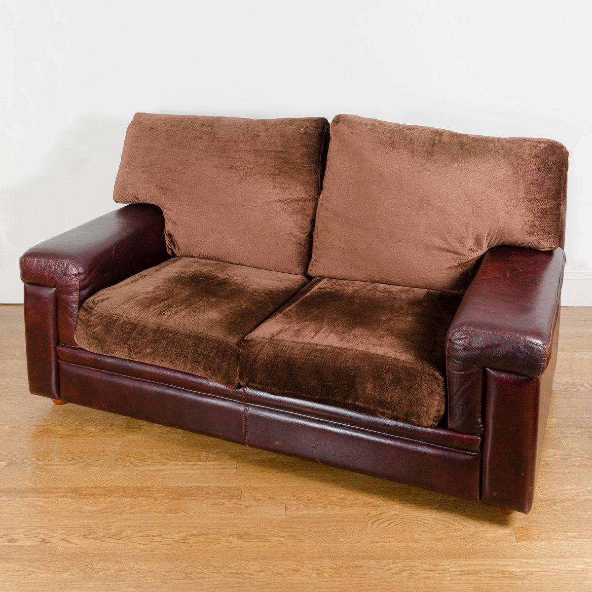 Contemporary Leather Upholstered Loveseat