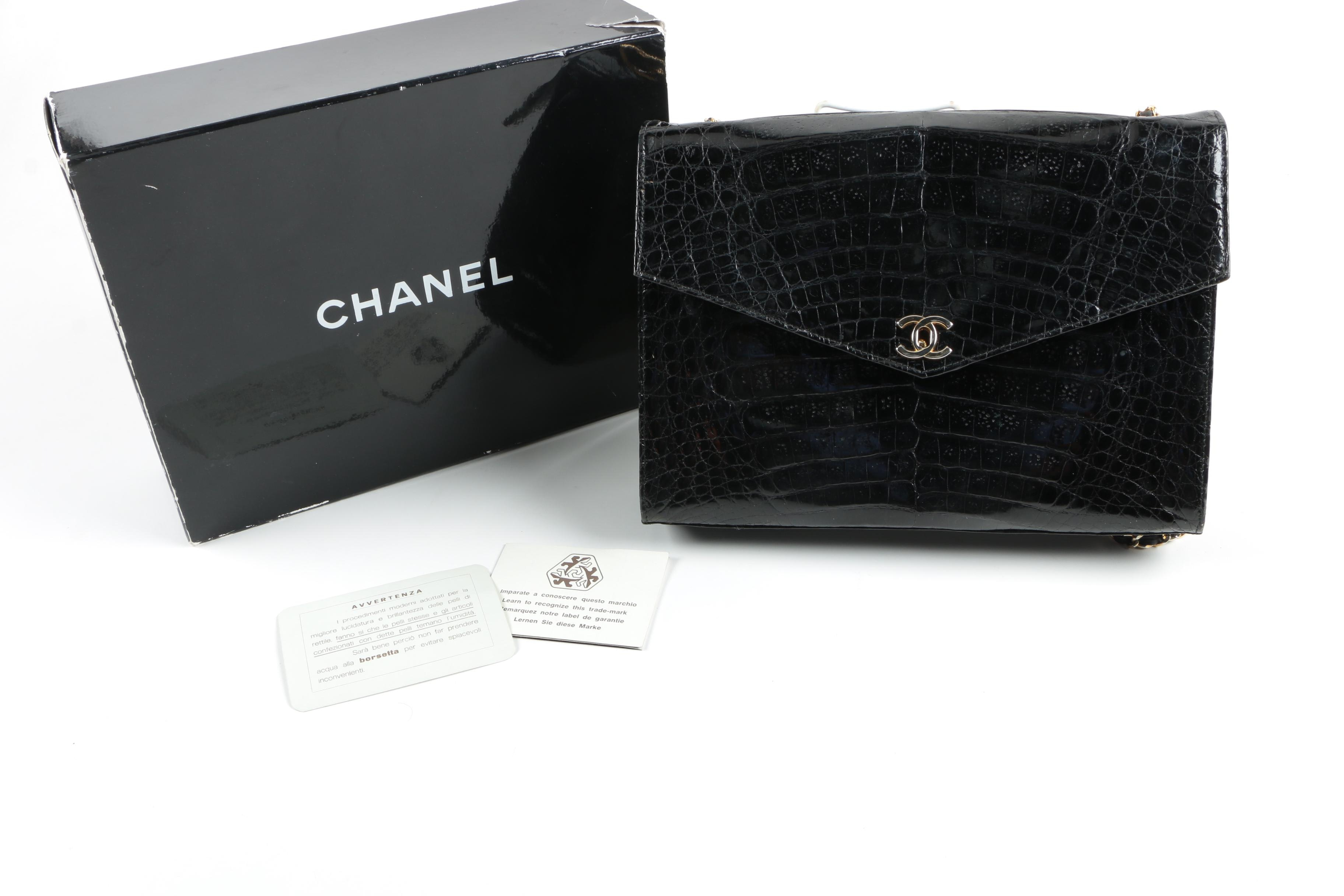 1986-1988 Vintage Chanel Crocodile Skin Handbag