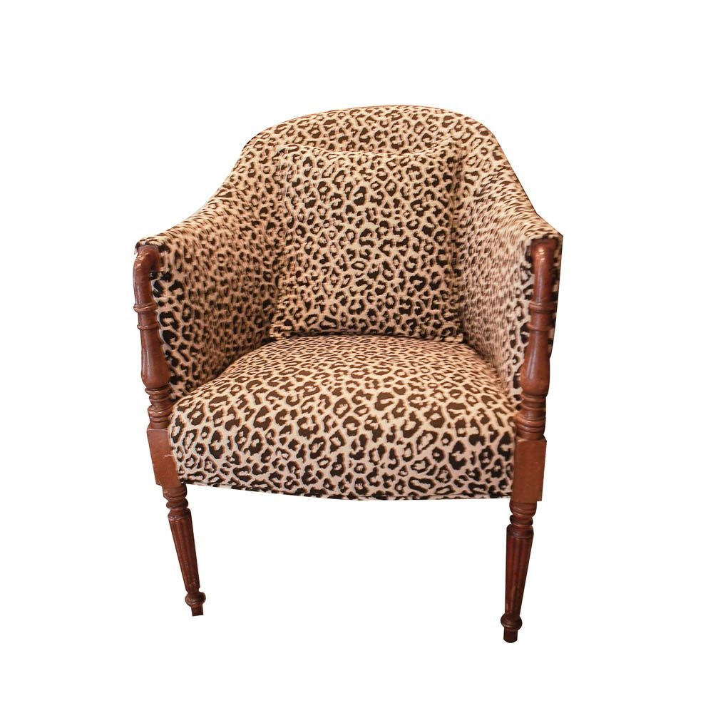 Leopard Print Upholstered Sheraton Style Club Chair