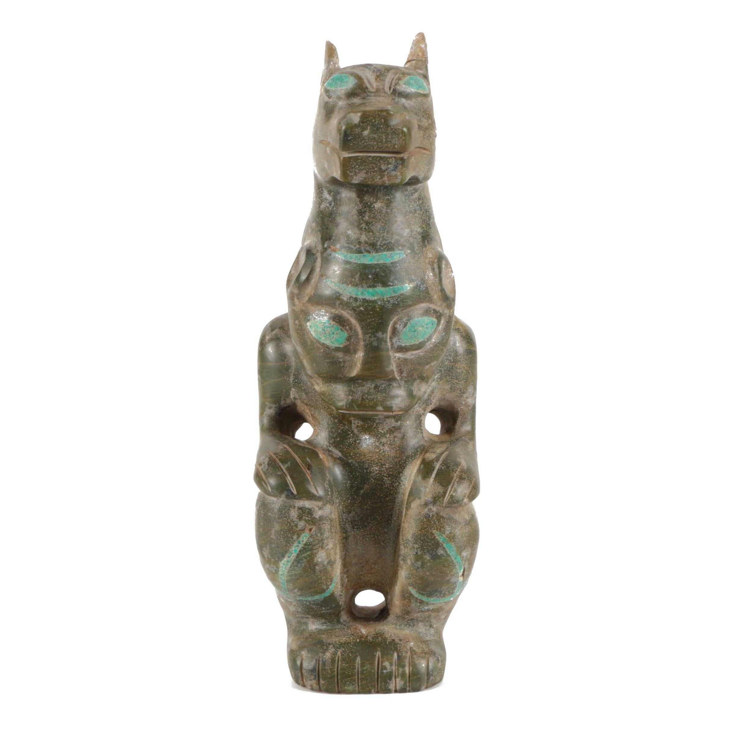 South American-Style Soapstone Sculpture with Turquoise Composite Inlay