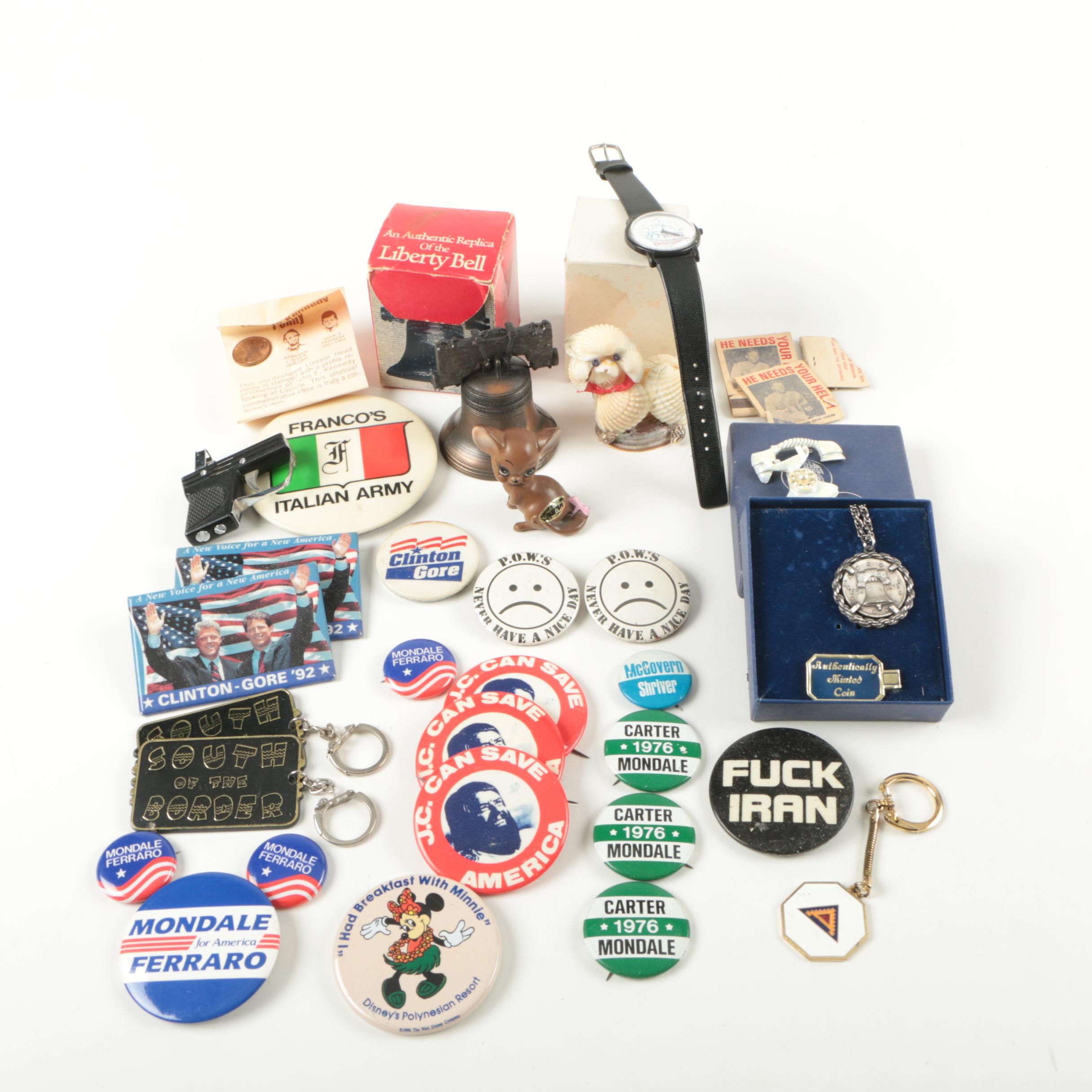 Political and Disney Memorabilia and Pistol Shaped Lighter
