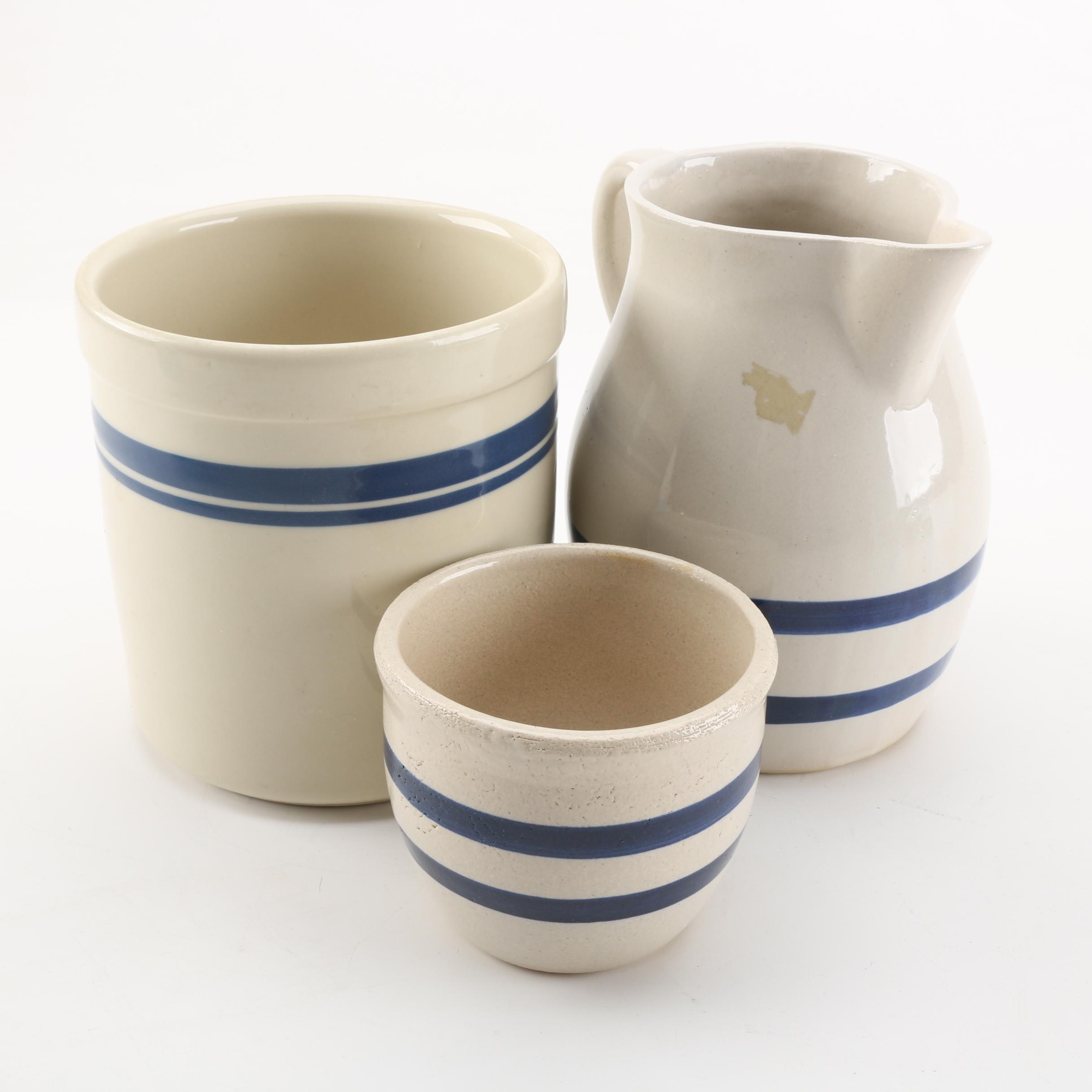 Vintage Stoneware Pitcher, Crock, and Bowl