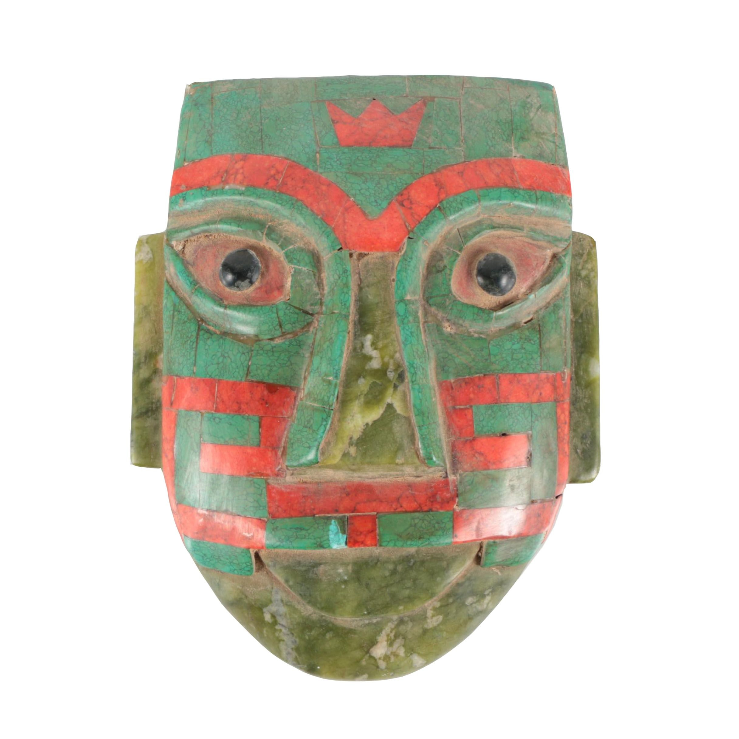 Aztec-Style Carved Soapstone and Inlaid Howlite Mask