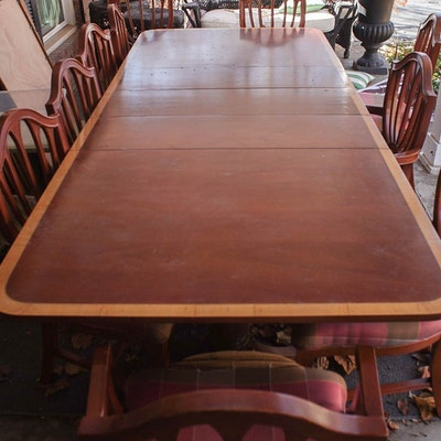 Federal Style Dining Table And Ten Chairs