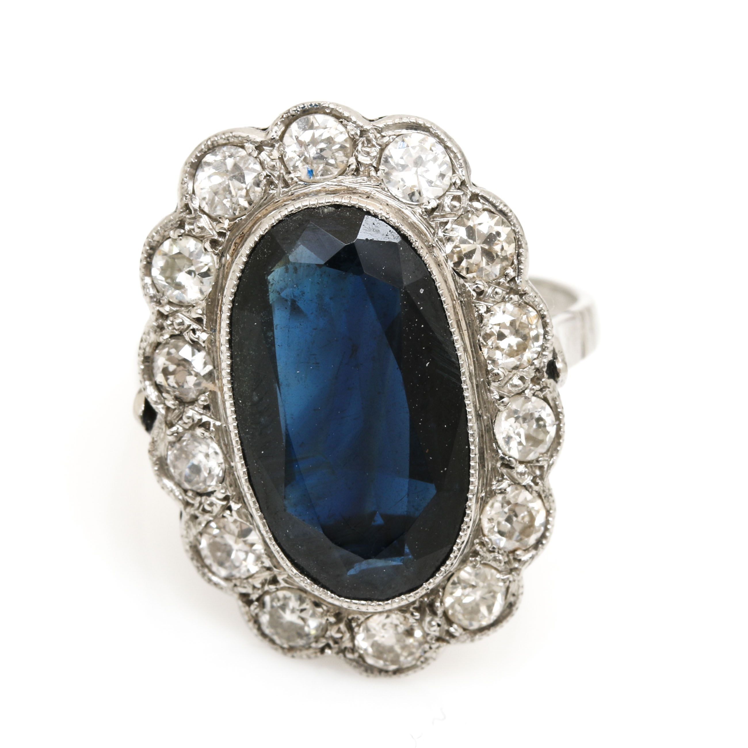 Platinum 3.47 CT Sapphire and Diamond Ring