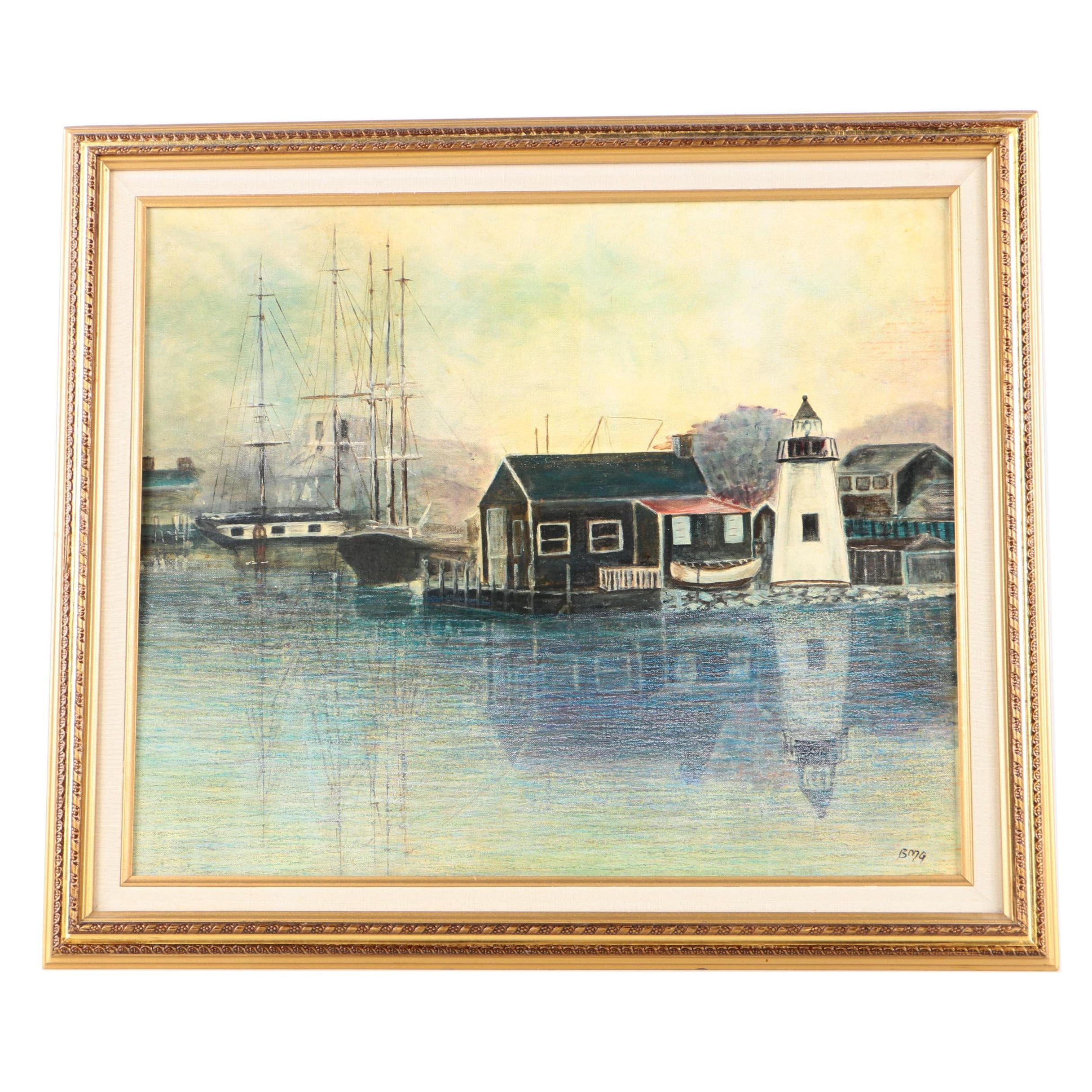 "Barbara M. Gunderson Mixed Media Painting of a Harbor ""Mystic"""