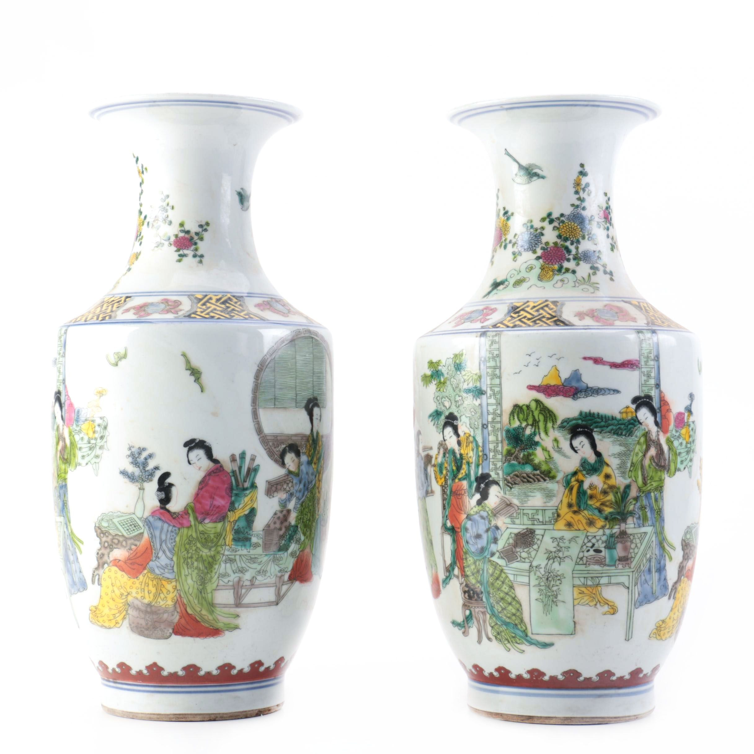 Pair of Porcelain Rouleau Chinese Vases