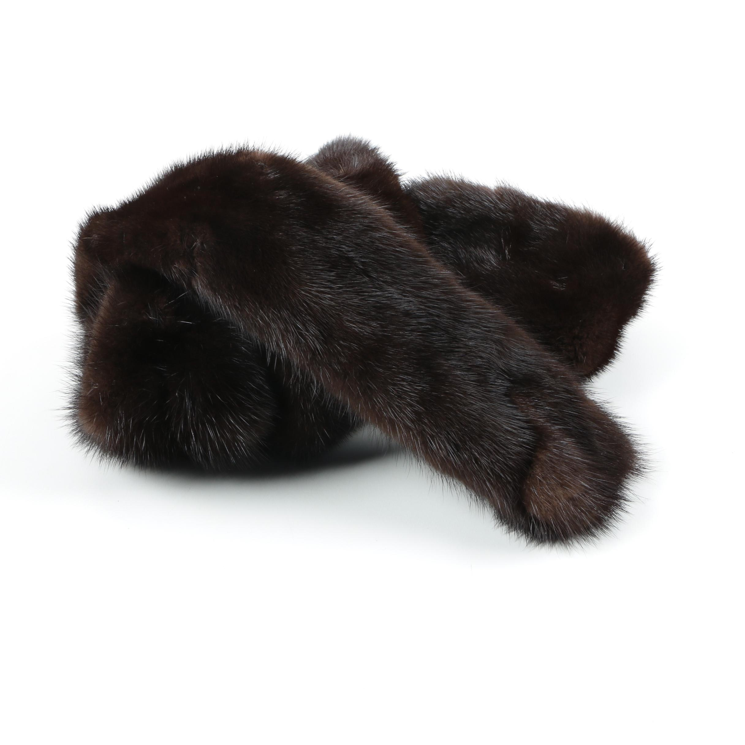 Vintage Chocolate Mink Fur Scarf