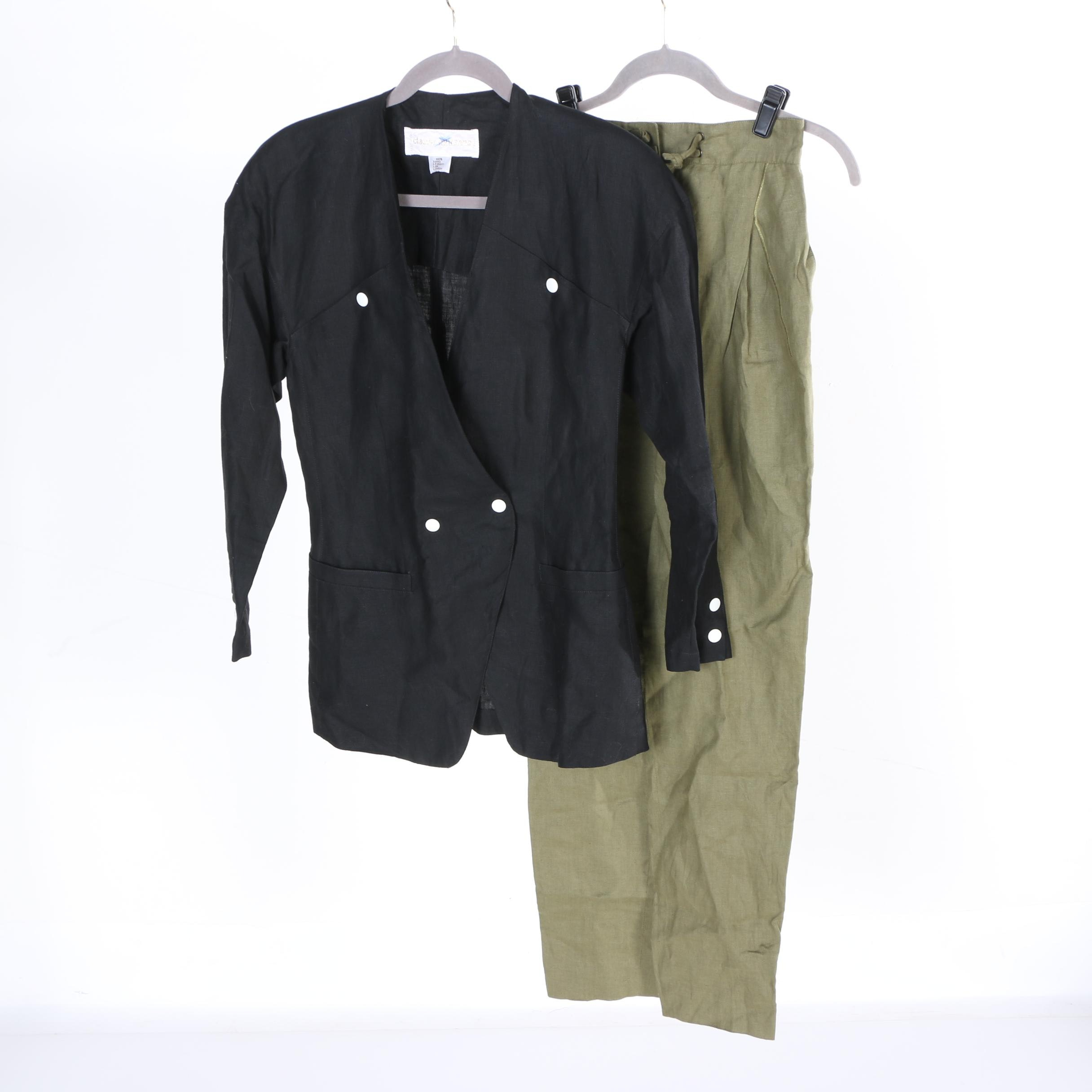 Women's Claude Montana Linen Jacket and Pants