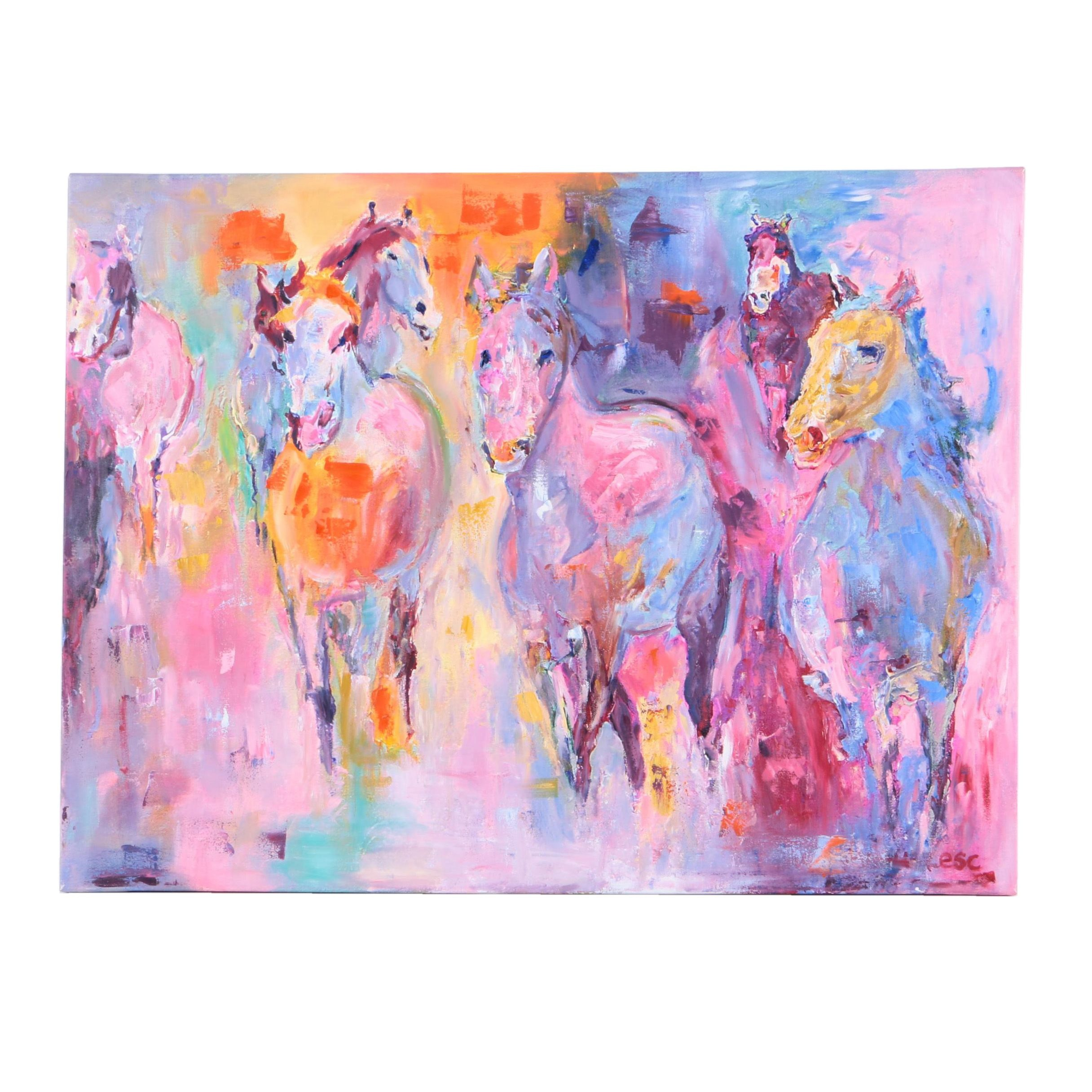 Embellished Giclee Print on Canvas of Horses