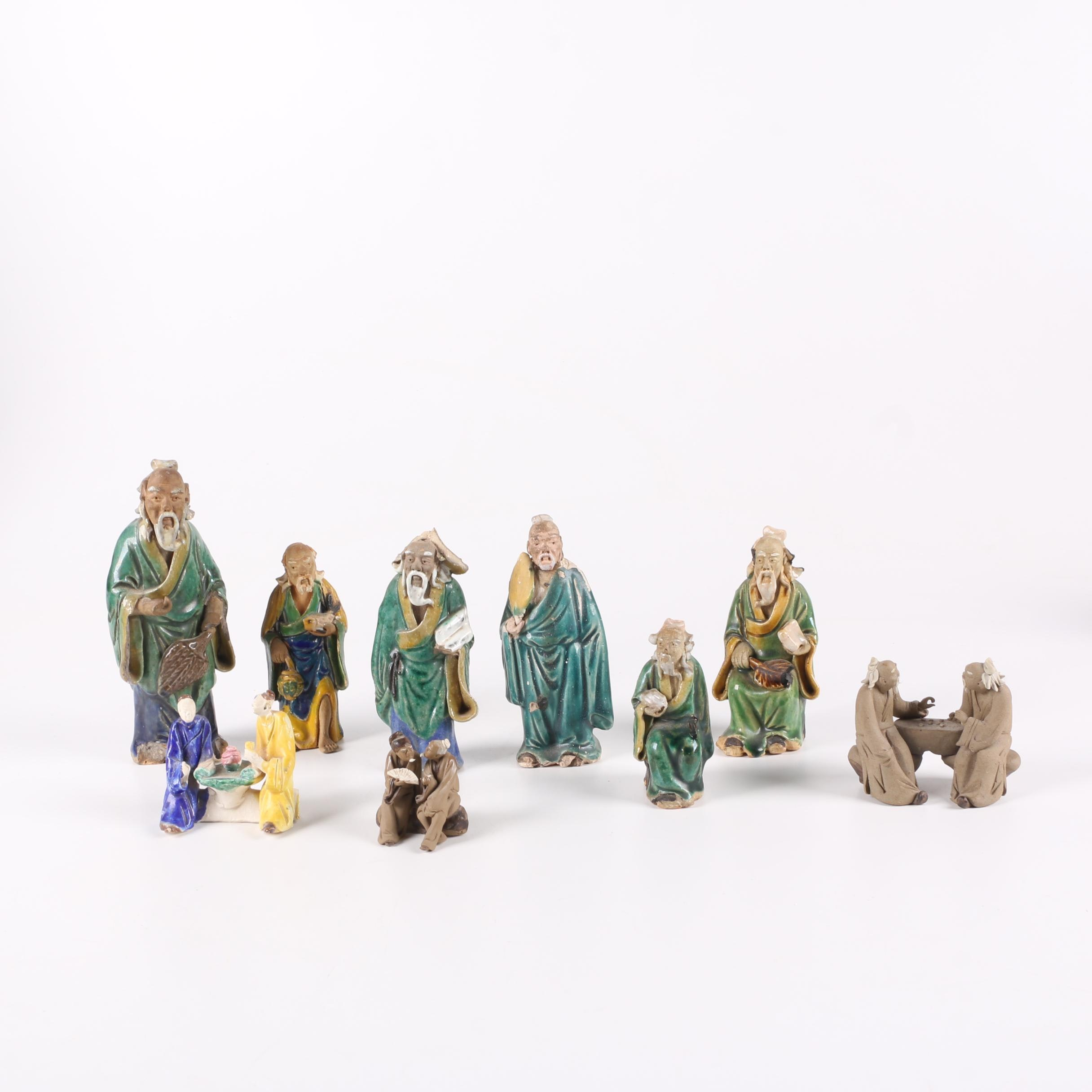 Collection of East Asian Figurines Including Shiwan Ware