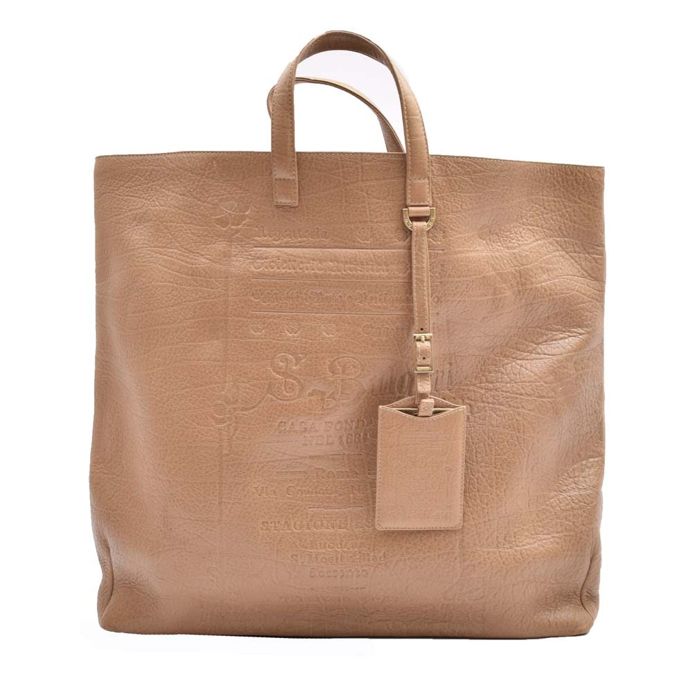 Bulgari Embossed Leather Tote