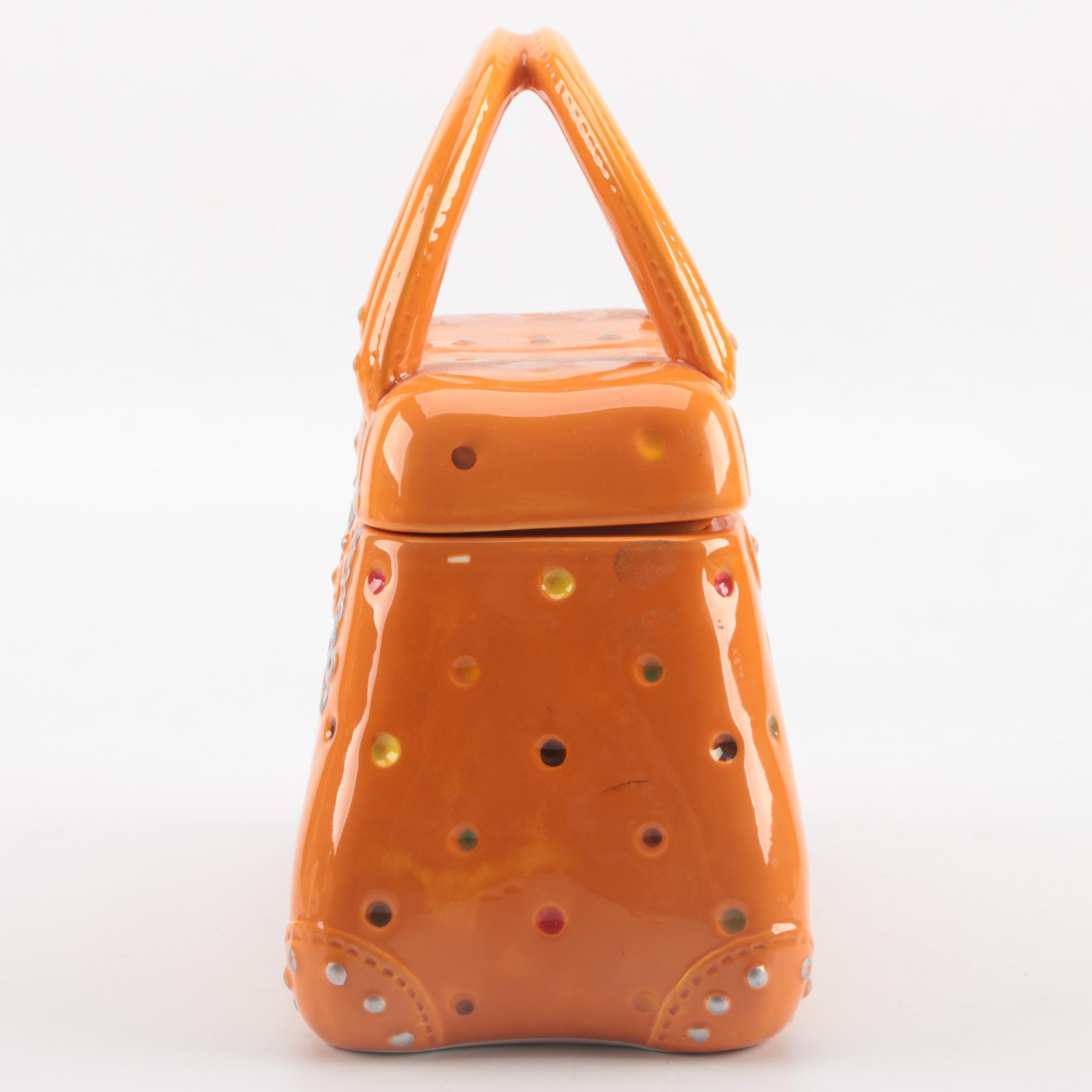Temp Tations Presentable Ovenware Orange Ceramic Purse Ebth