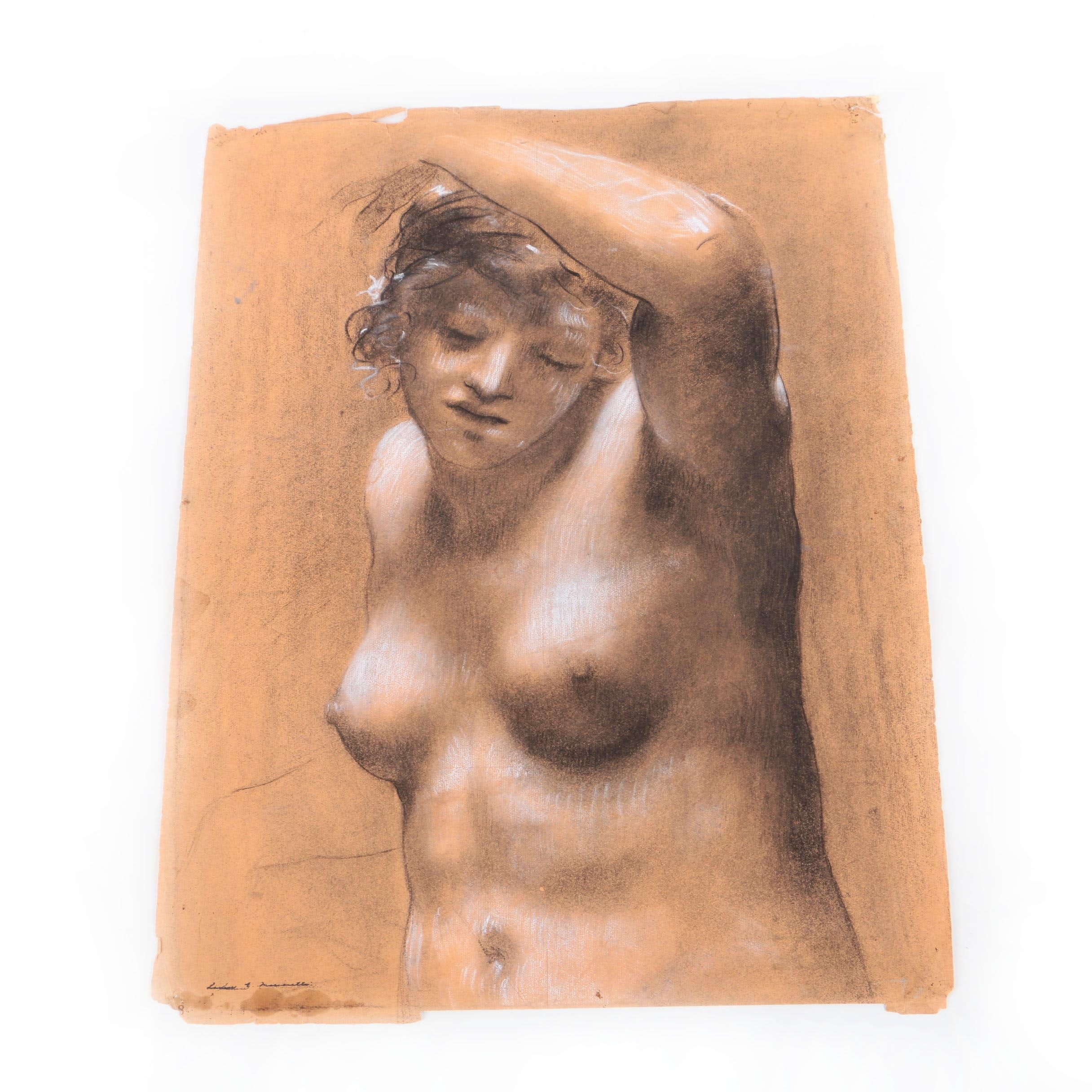 Louise E. Marianetti Classical-Style Pastel Drawing of Nude
