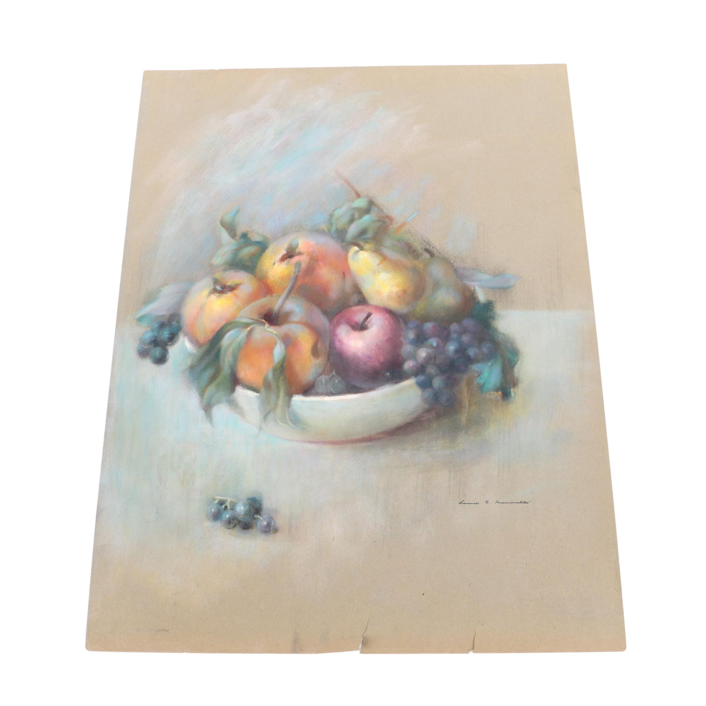 Louise E. Marianetti Pastel Drawing of Fruit Bowl