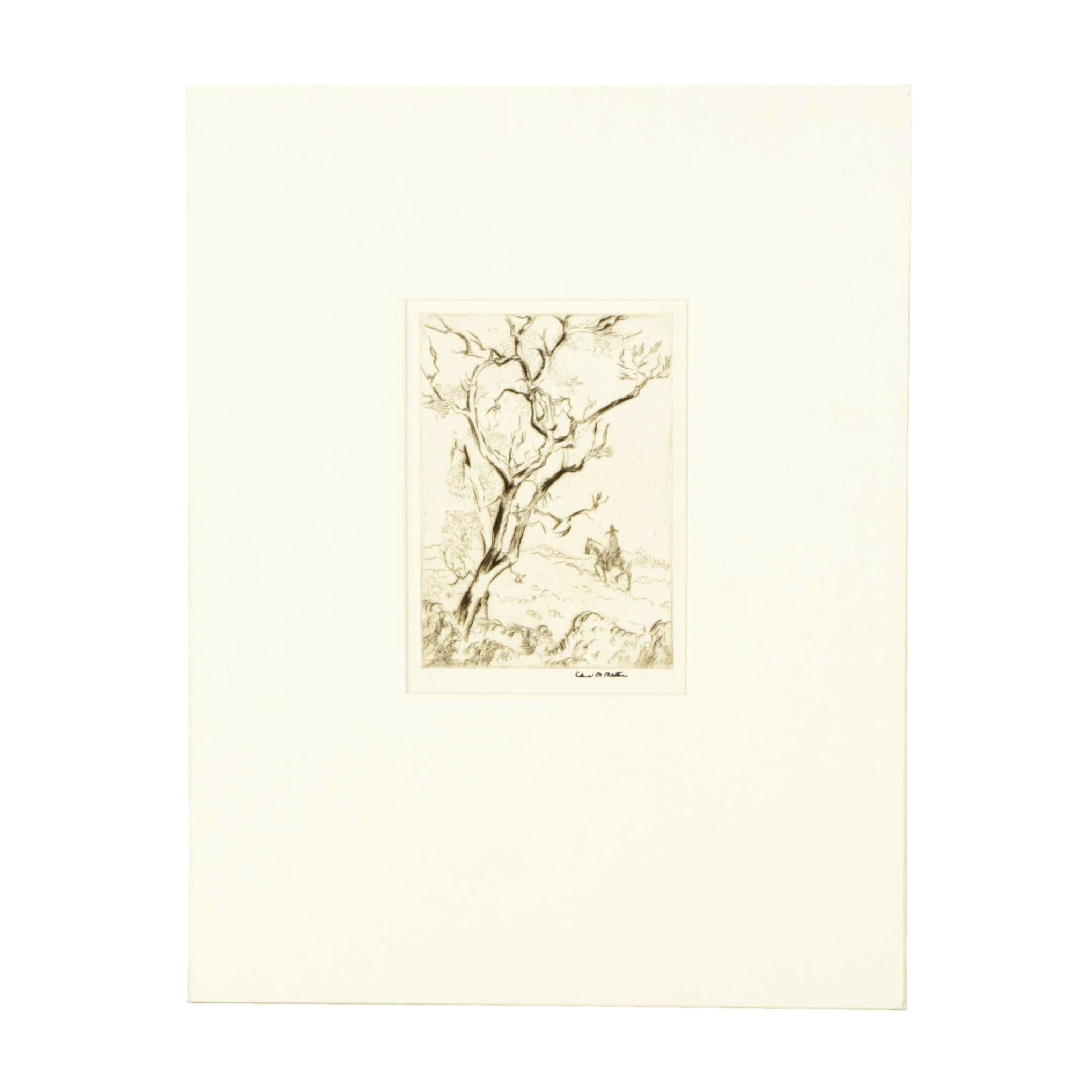 """1929 Edna M. Martin Etching """"Jogging in the Sun"""""""