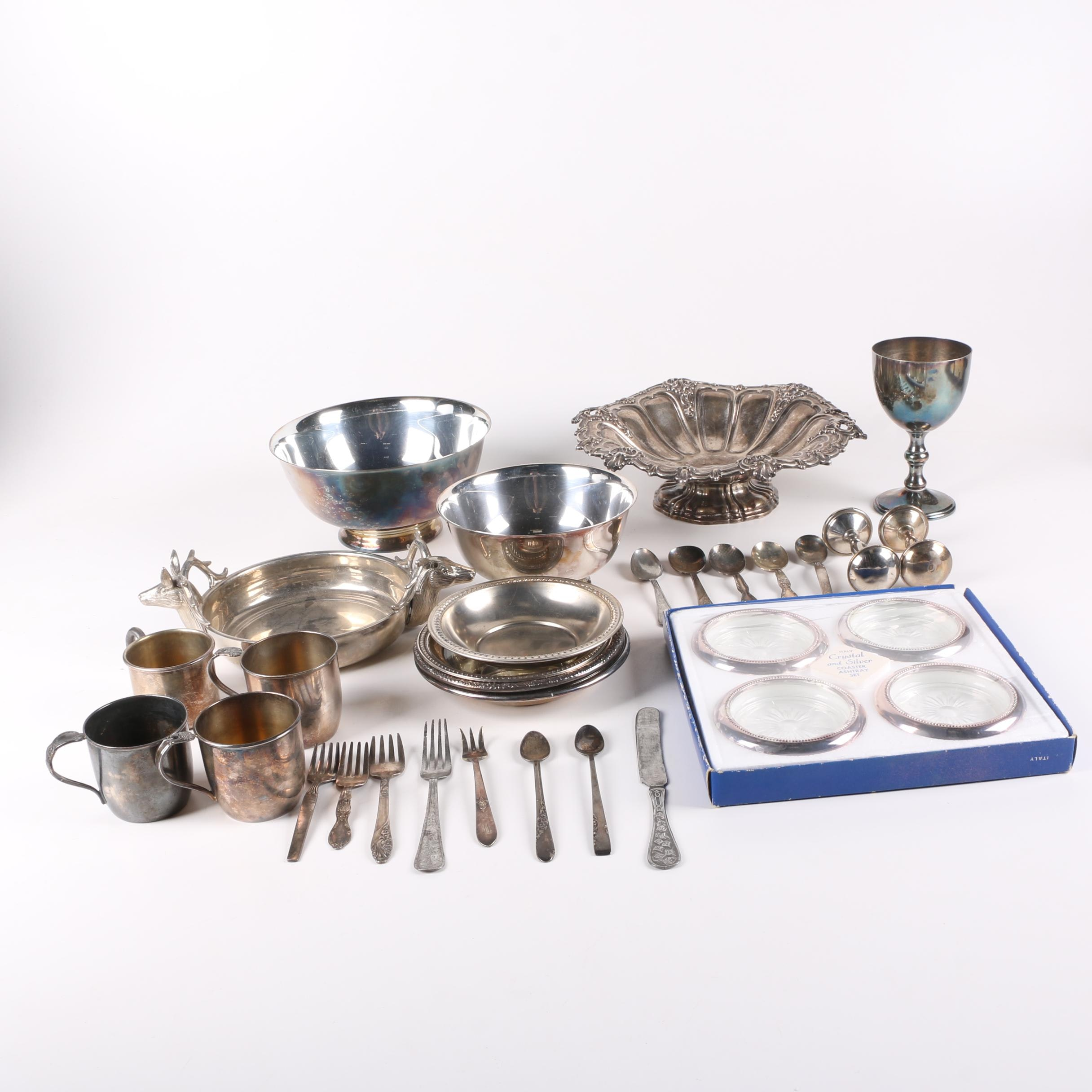 Reed & Barton Paul Revere Silver Plate Bowls with American and German Tableware