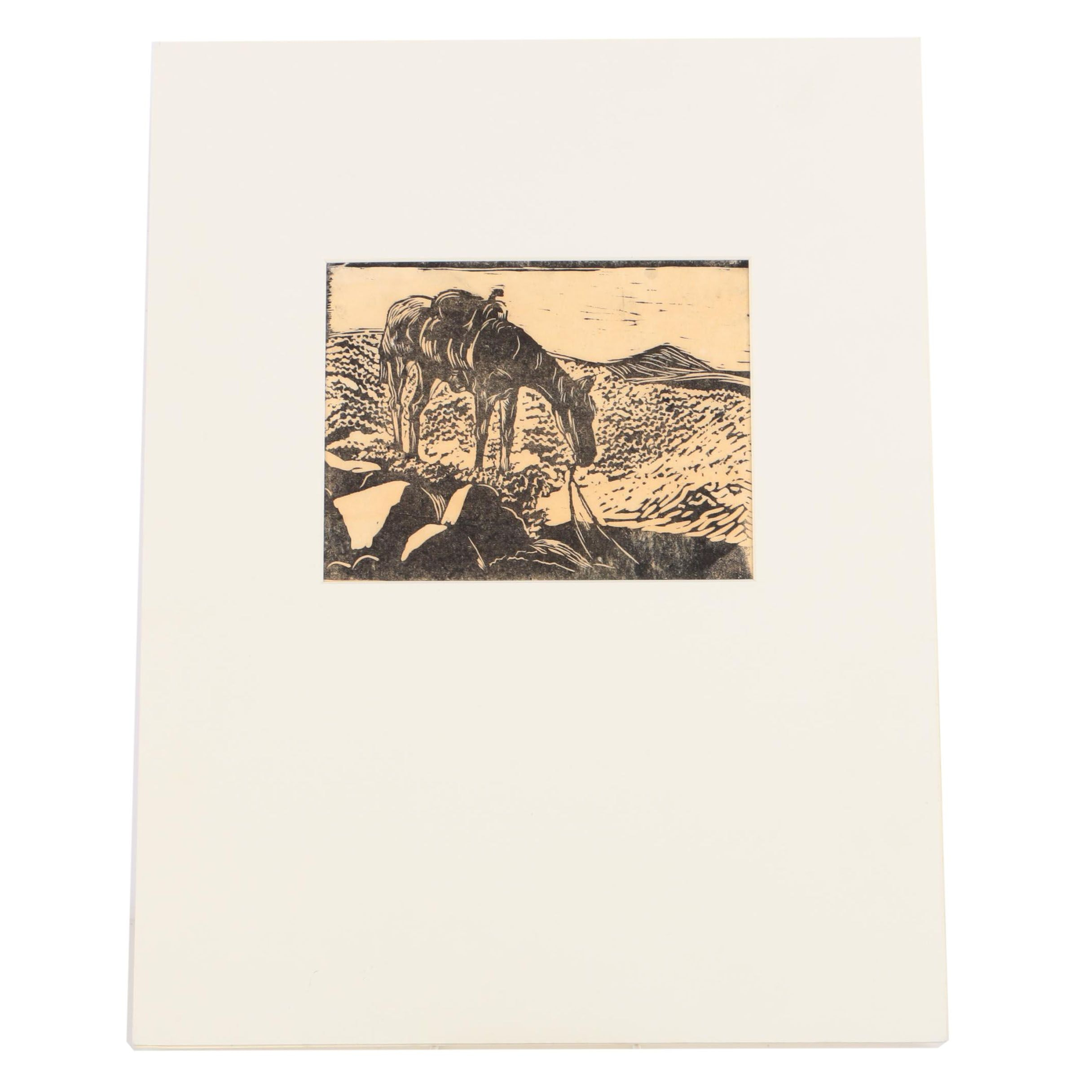 "Woodcut Print on Paper Attributed to Edna Martin ""On Top"""