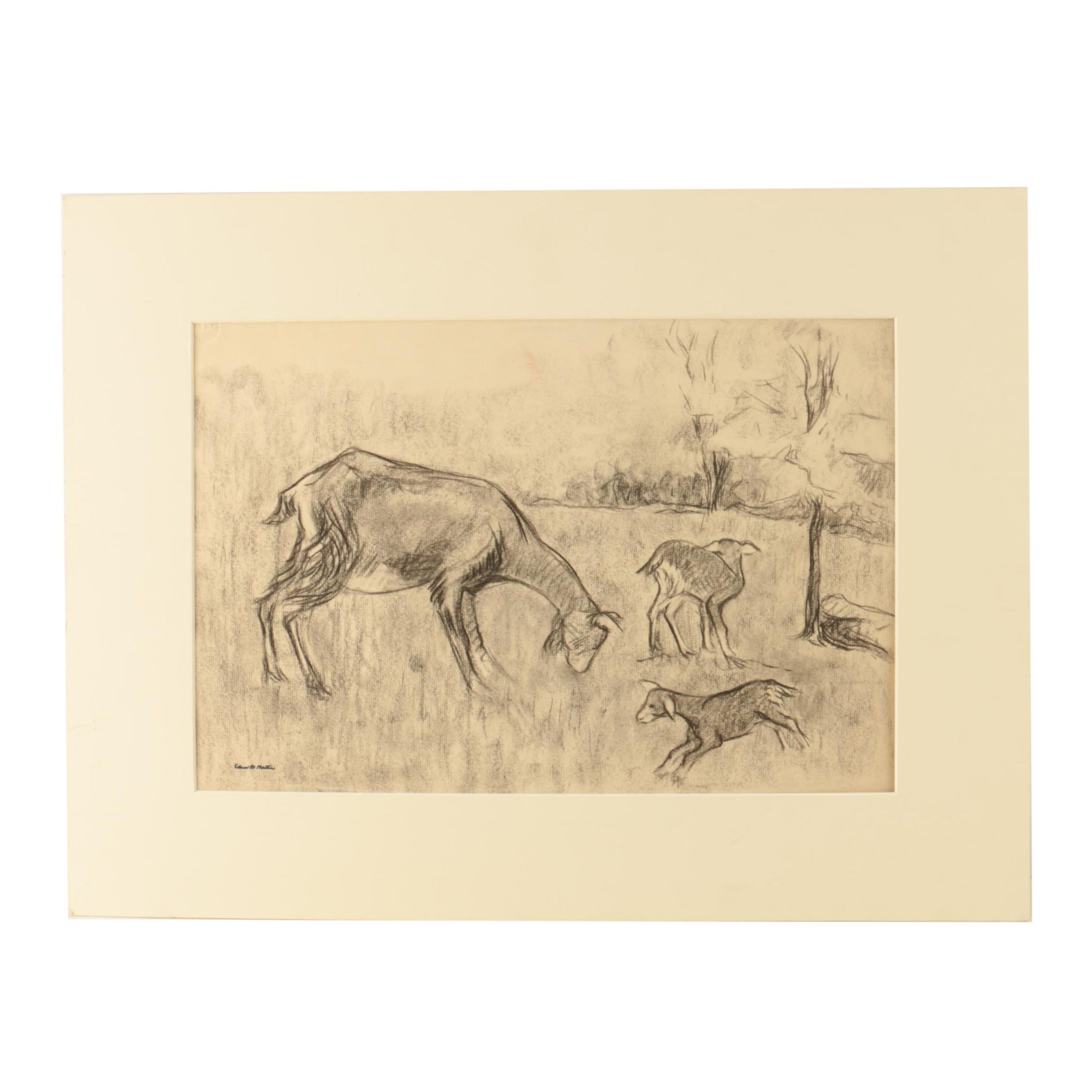 Edna M. Martin Charcoal Drawing of Goats in a Field