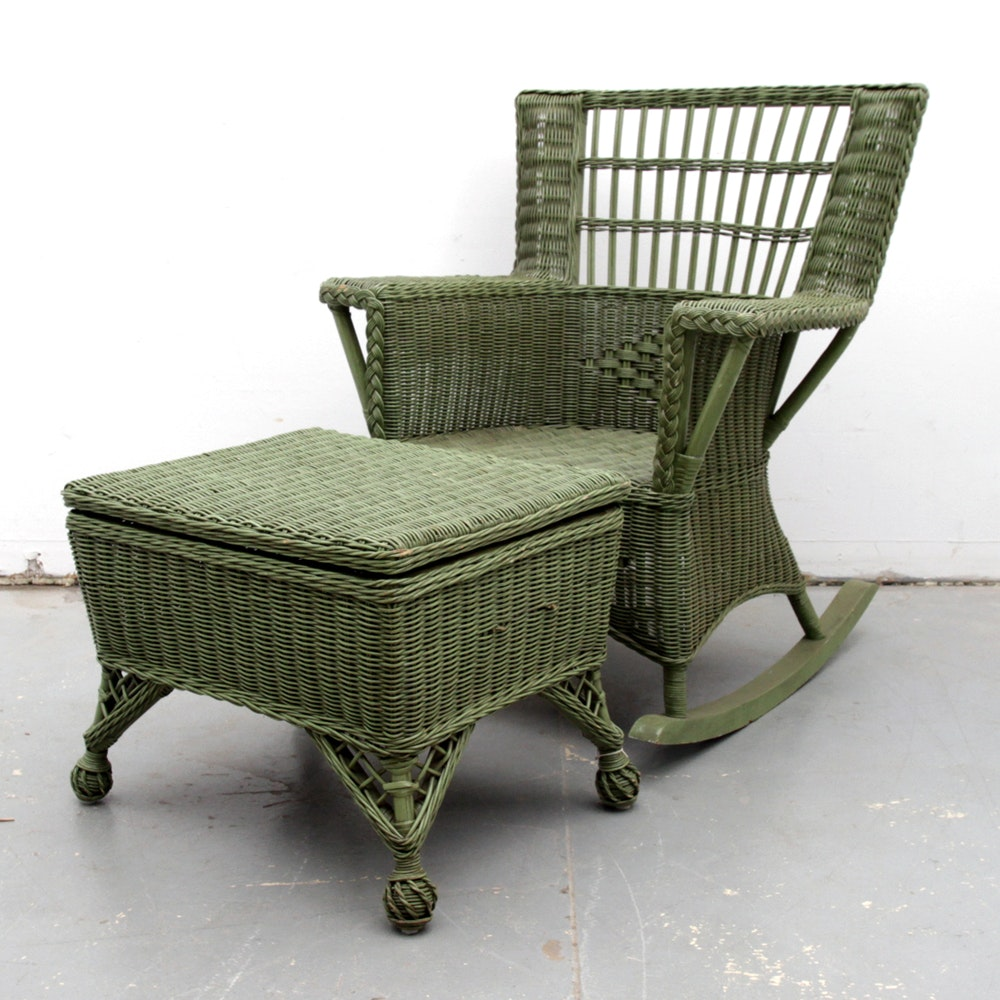 Painted Wicker Rocking Chair and Ottoman