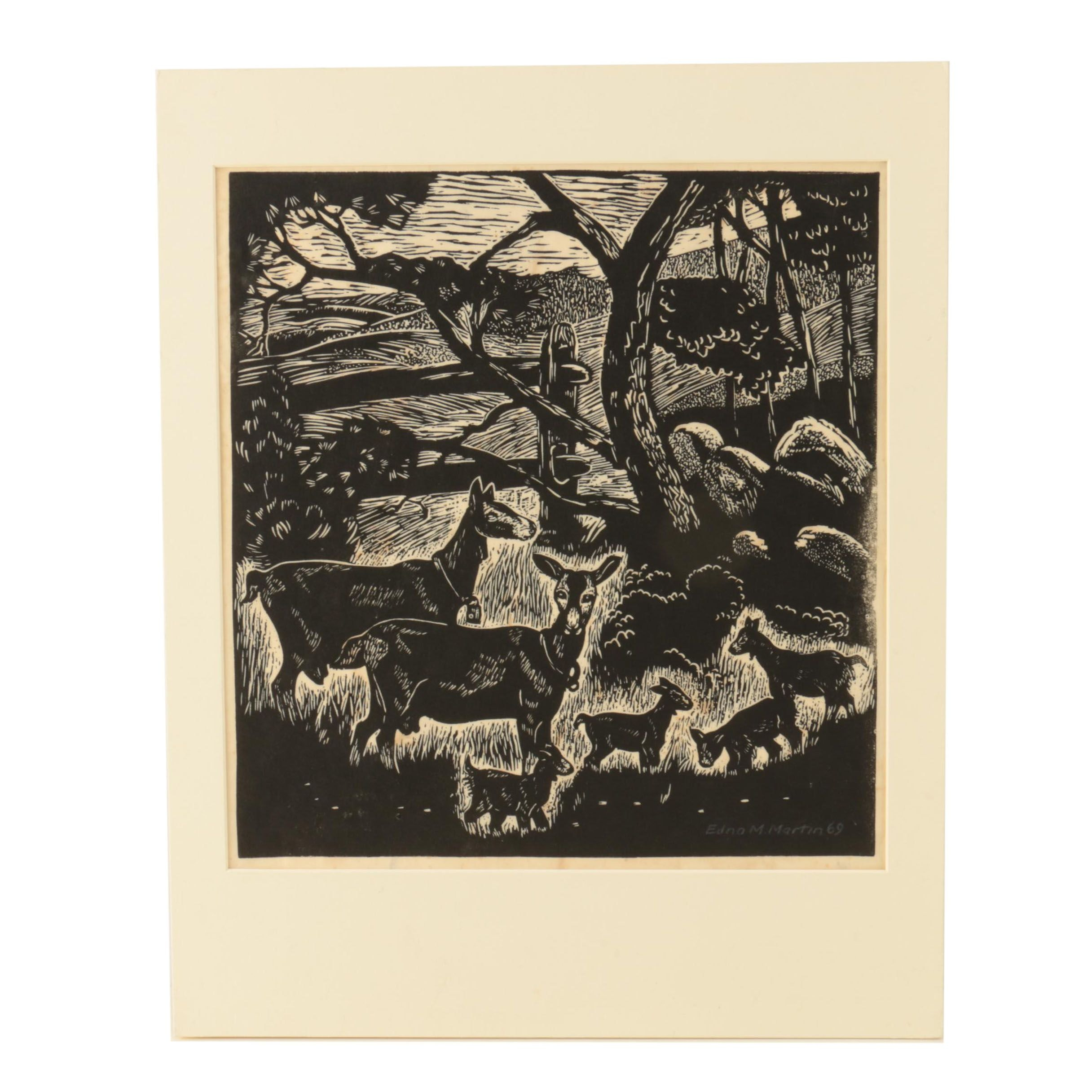 "Edna M. Martin Woodcut Print on Paper ""Spring Kids"""
