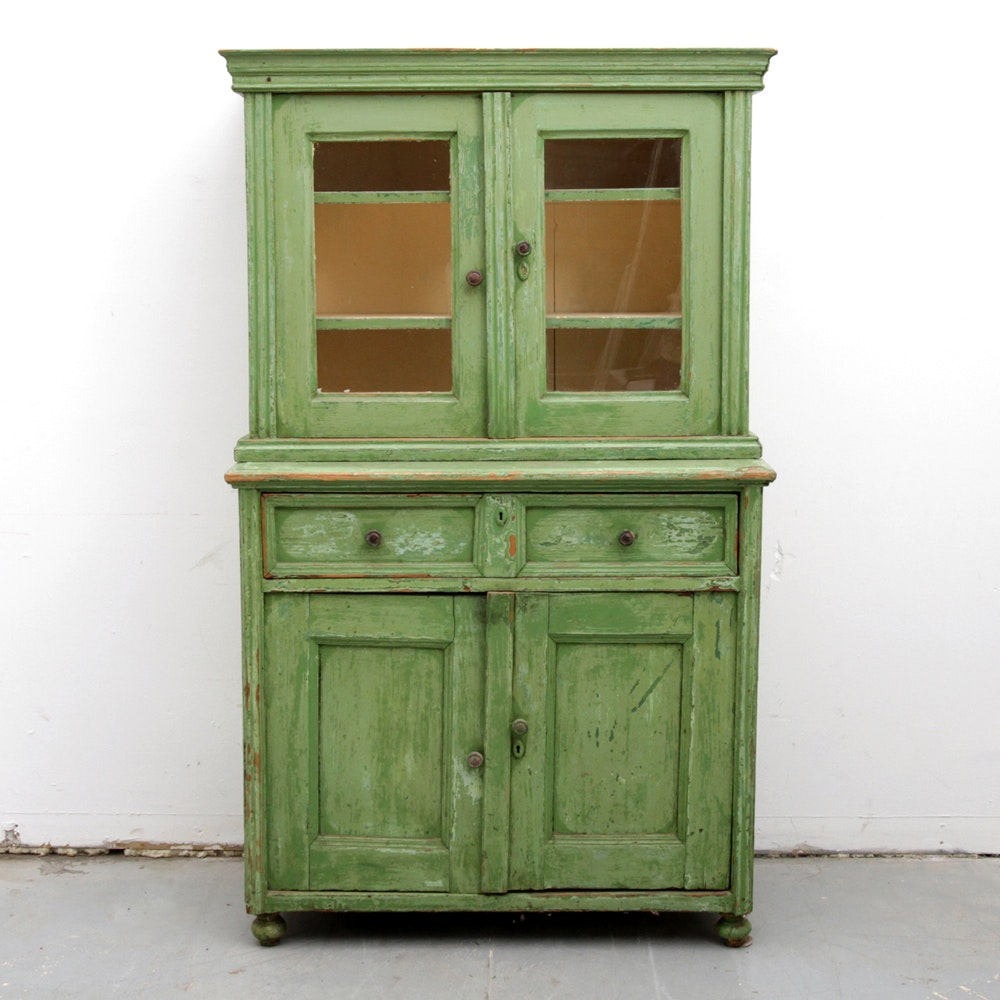Antique Painted China Cabinet