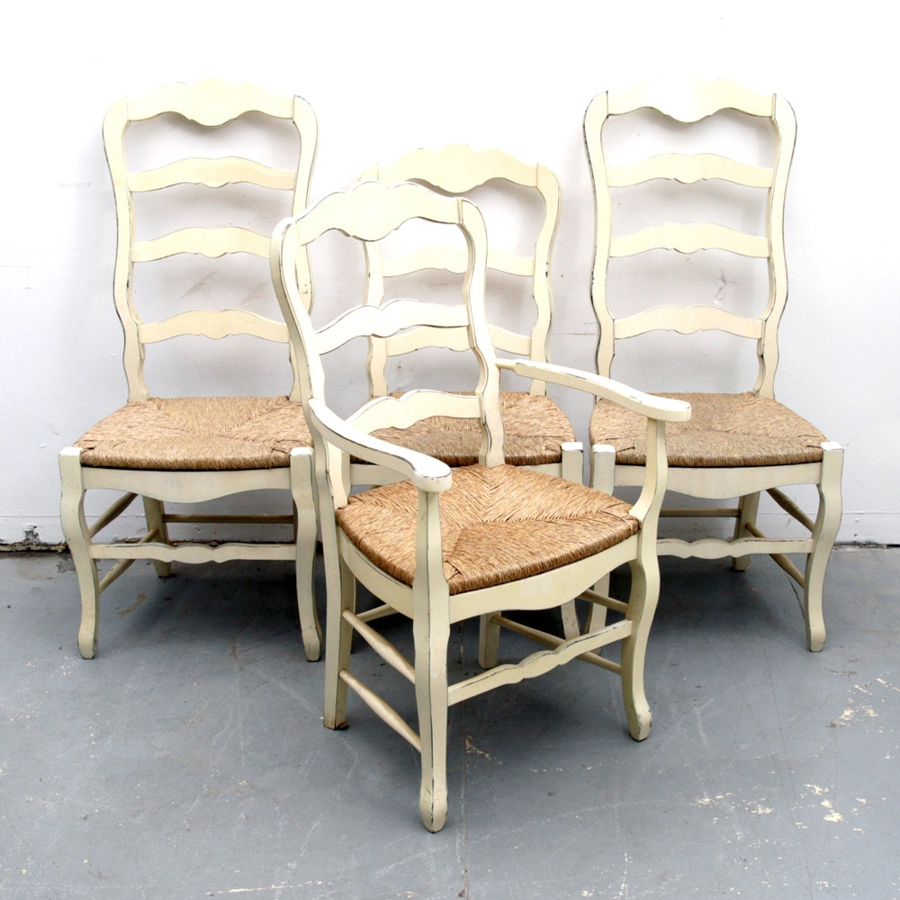 Four Ladder Back Dining Chairs with Rush Seats