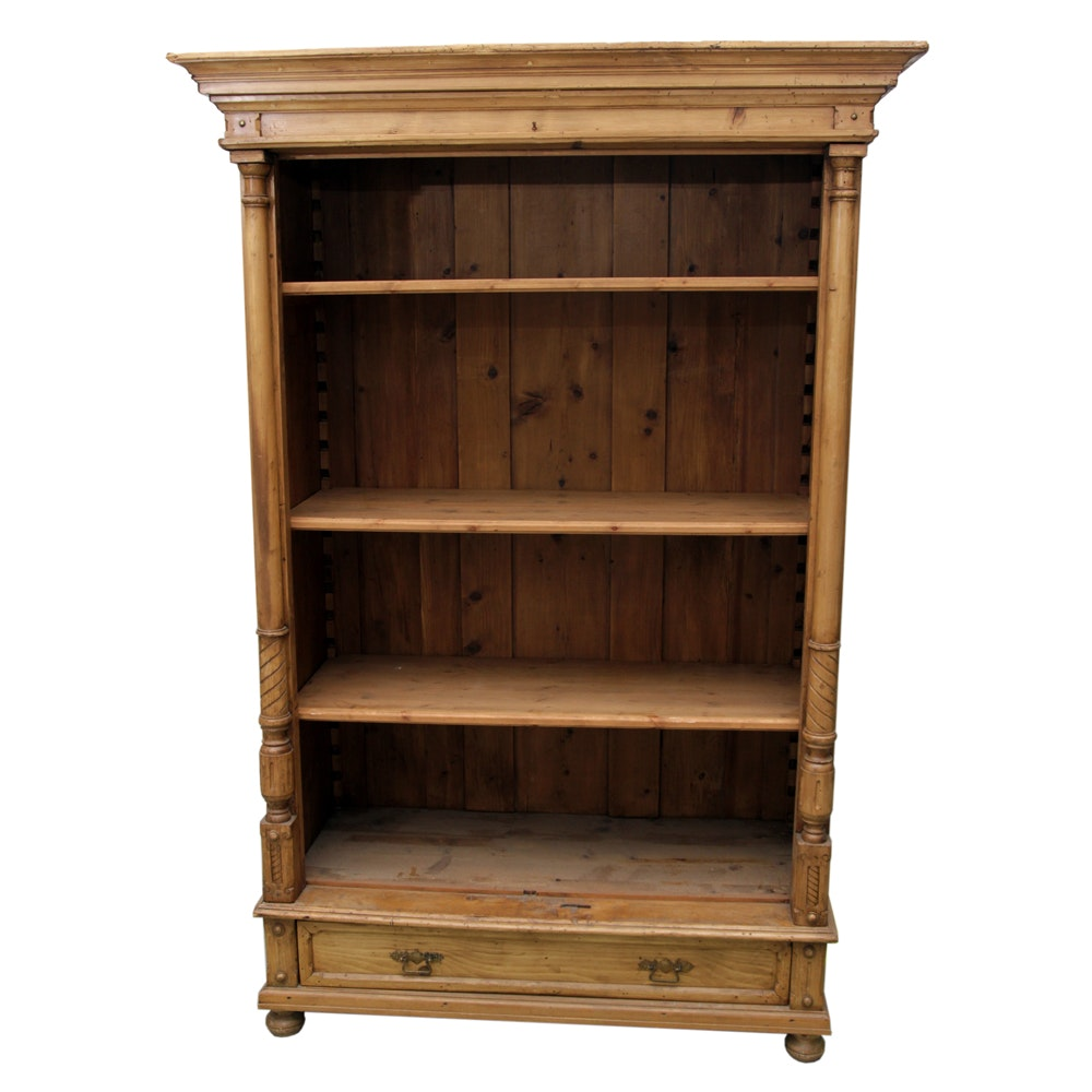 Distressed Antique Pine Cabinet with Adjustable Shelves