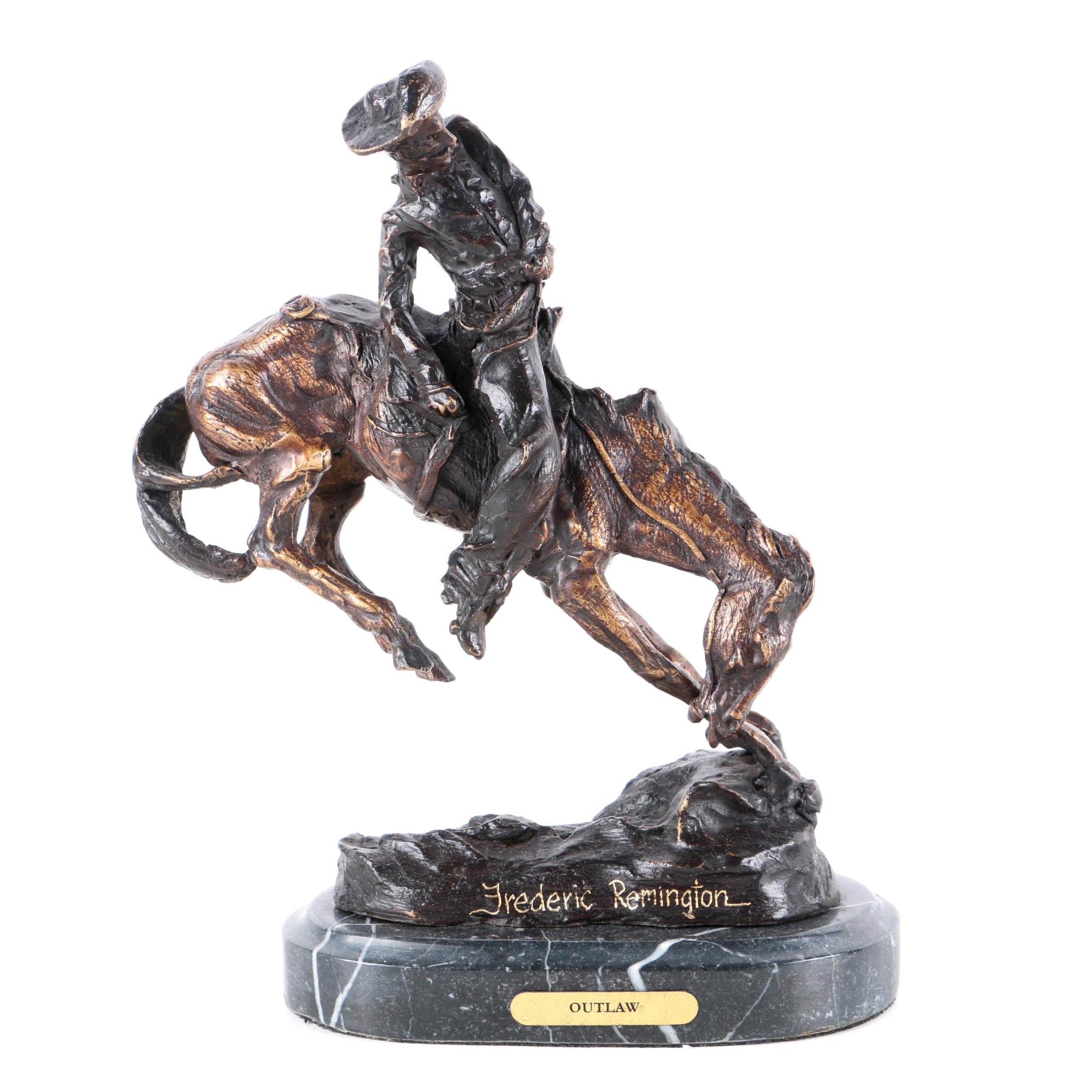 "Bronze Tone Reproduction Sculpture After Fredric Remington ""Outlaw"""