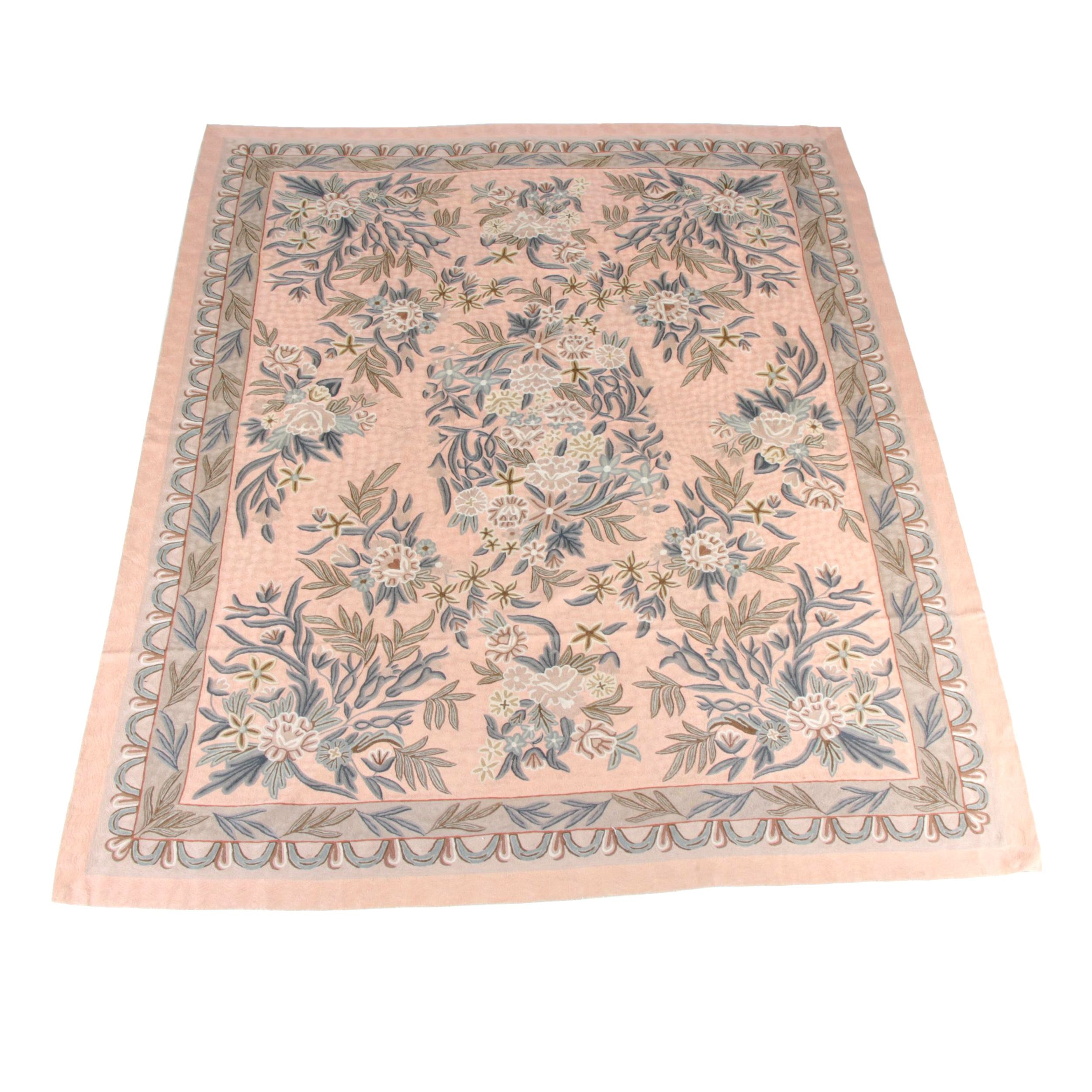 Handwoven Indian Floral Wool Area Rug