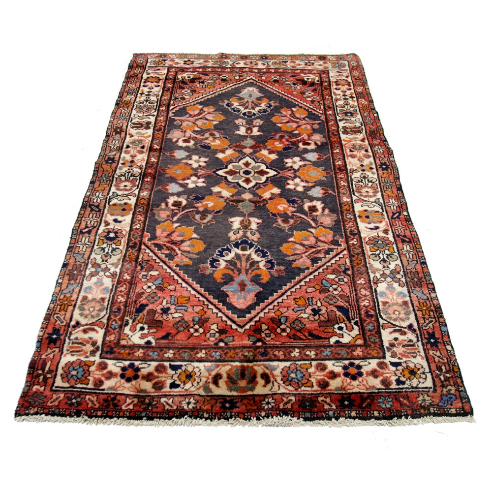 Vintage Hand-Knotted Persian Malayer Wool Area Rug