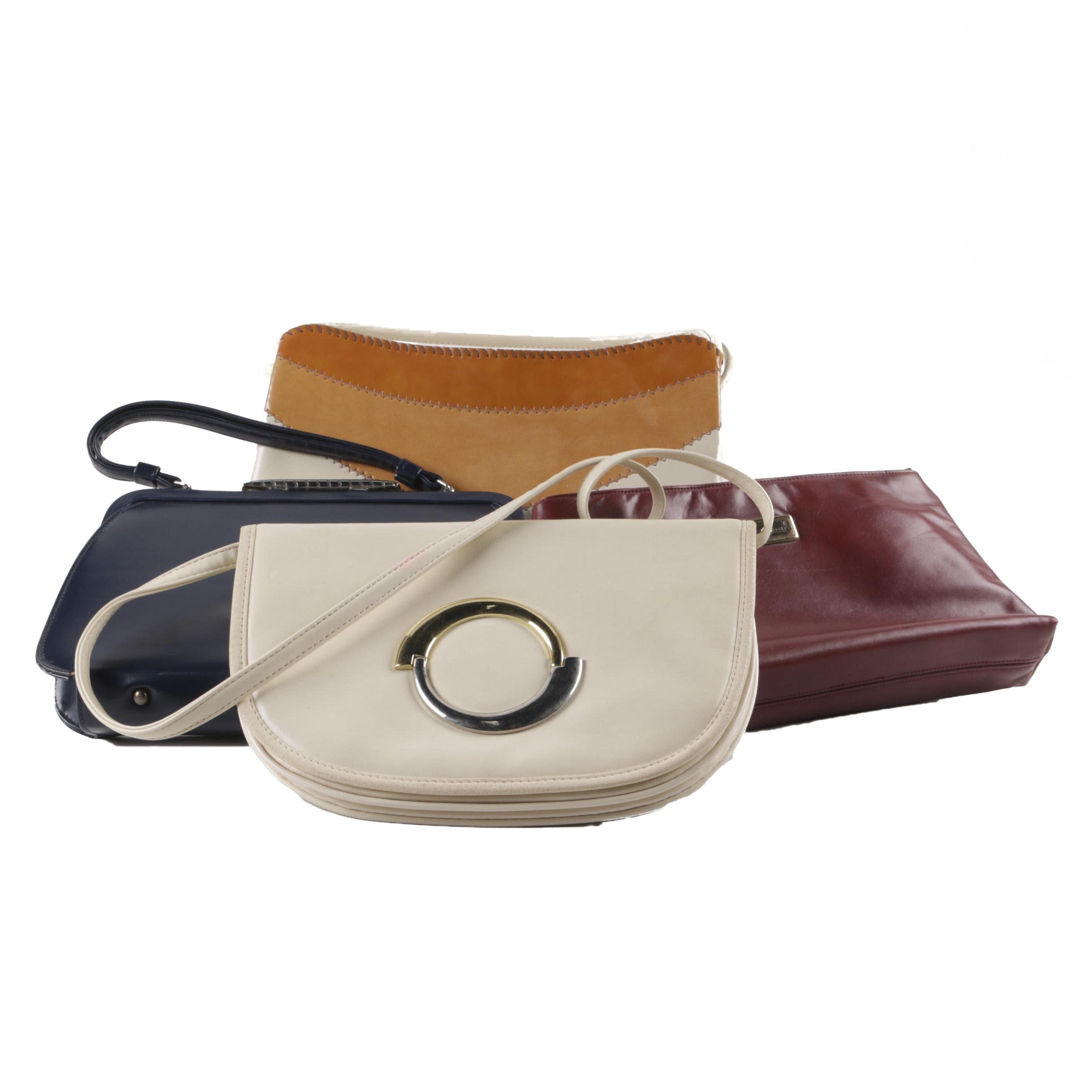 Women's Vintage Leather Handbags Including Etienne Aigner