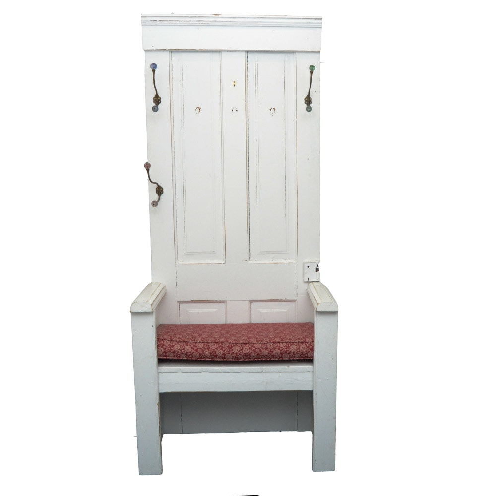 Hall Bench With Antique Door Back