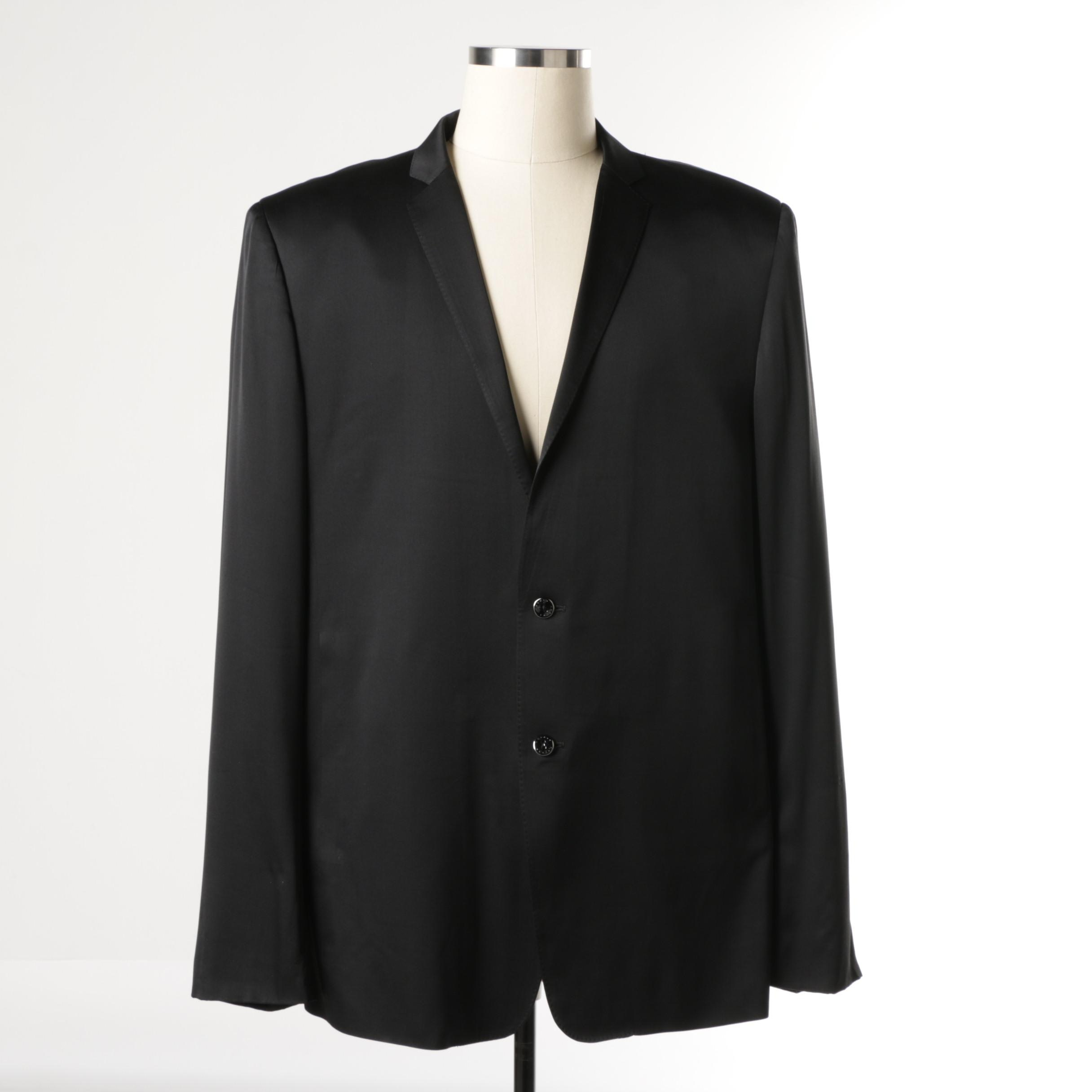 Men's Masatomo Black Silk Blend Suit Jacket