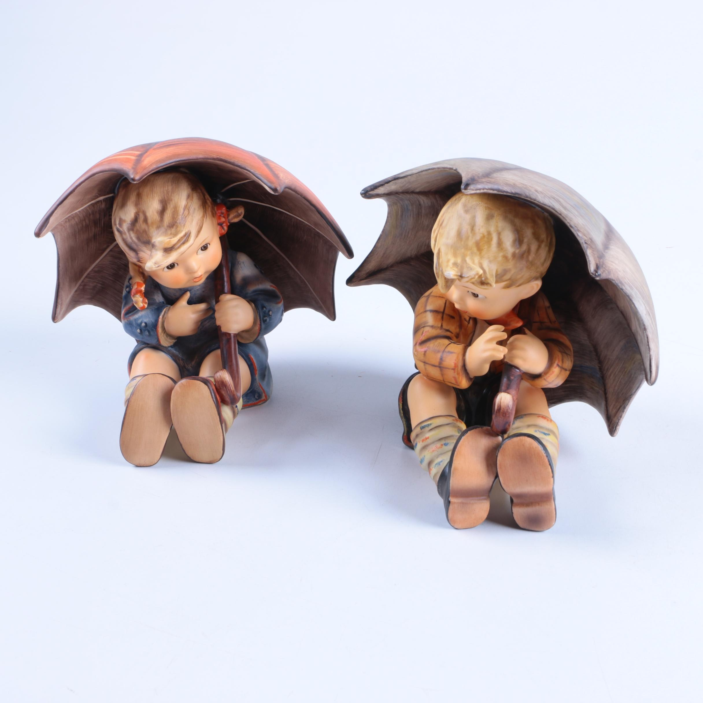 """Hummel """"Umbrella Girl"""" and """"Umbrella Boy"""" Figurines"""