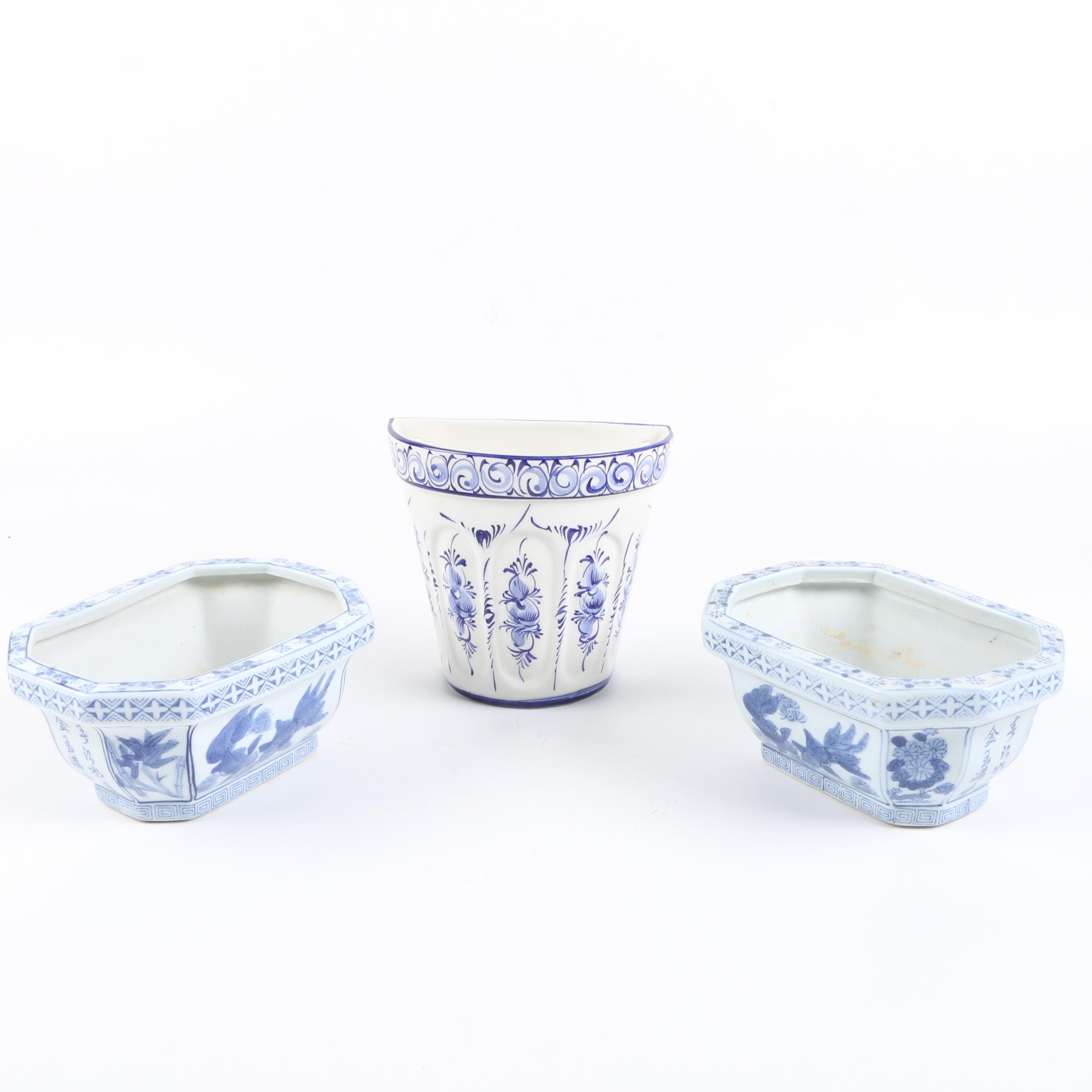 White and Blue Ceramic Planters