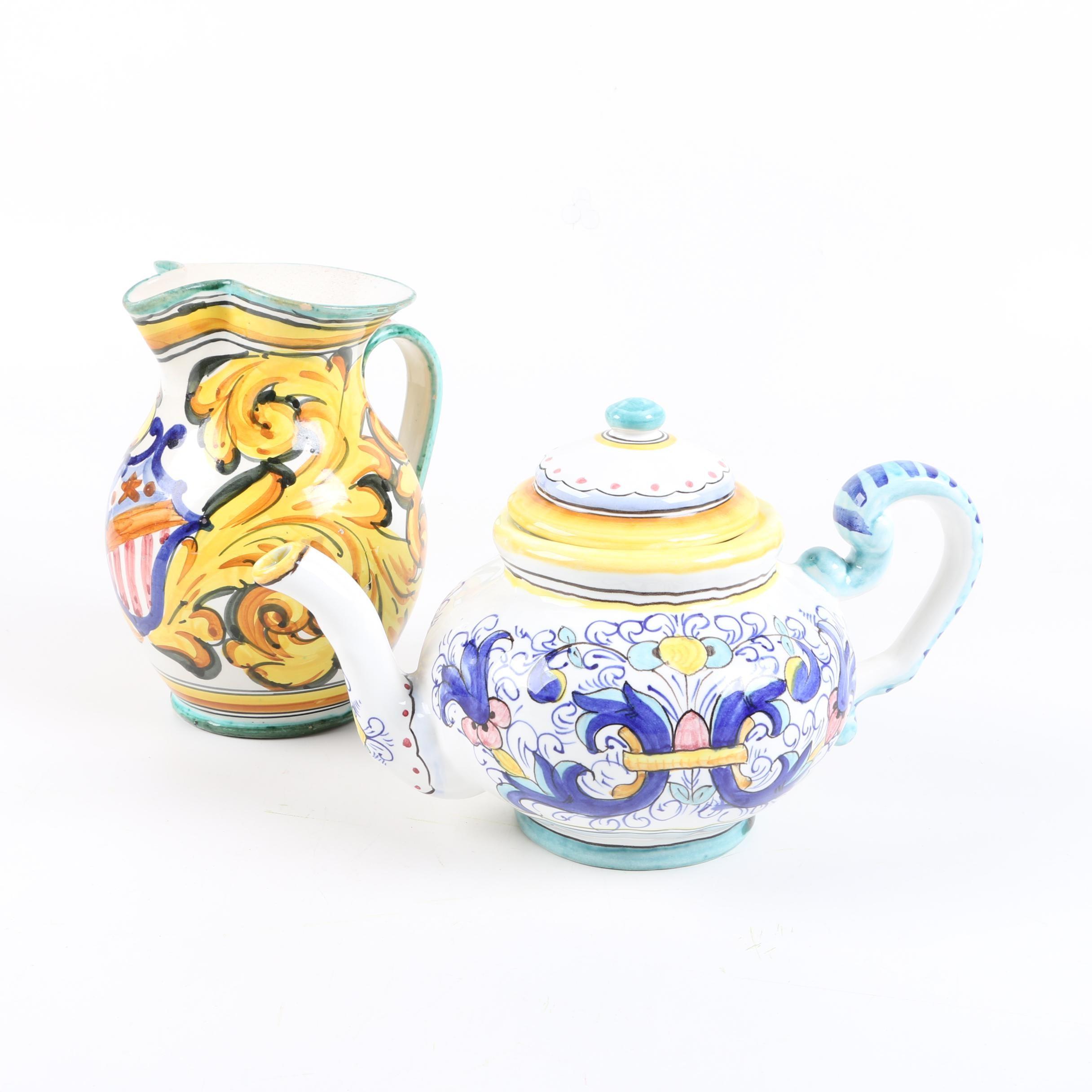 Italian Faïence Cermaics including a Sur La Table Teapot