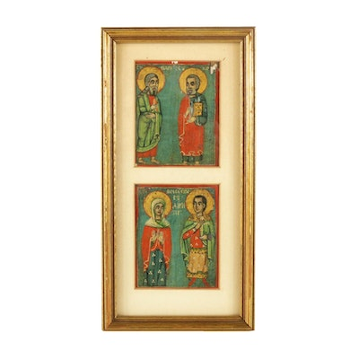 Hand-Painted Russian Icons of Christian Figures