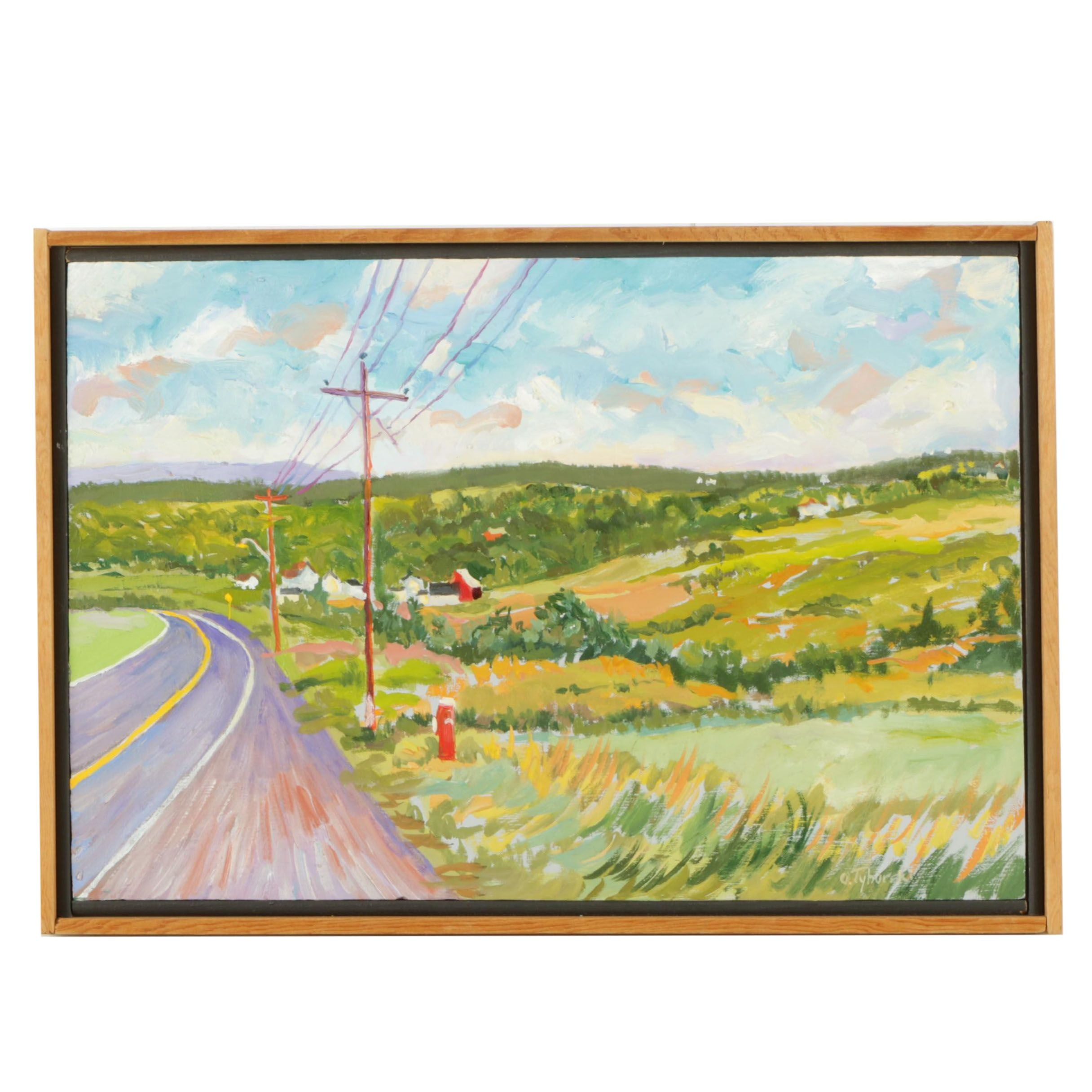 "O. Tyborski Oil Painting on Board ""On The Road Again"""