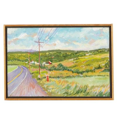 "O. Tyborski Oil Painting on Board ""On The Road Again"""